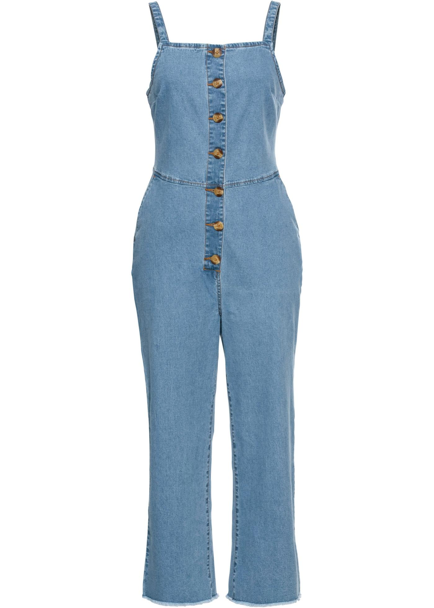 Jeans-Jumpsuit mit Knöpfen ohne Ärmel  in blau für Damen von bonprix