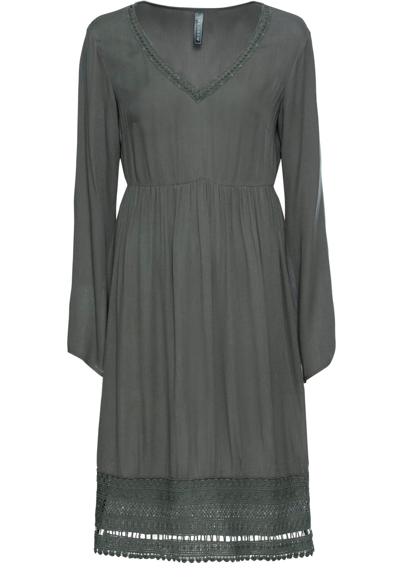 Kleid mit Spitze in grau für Damen von bonprix