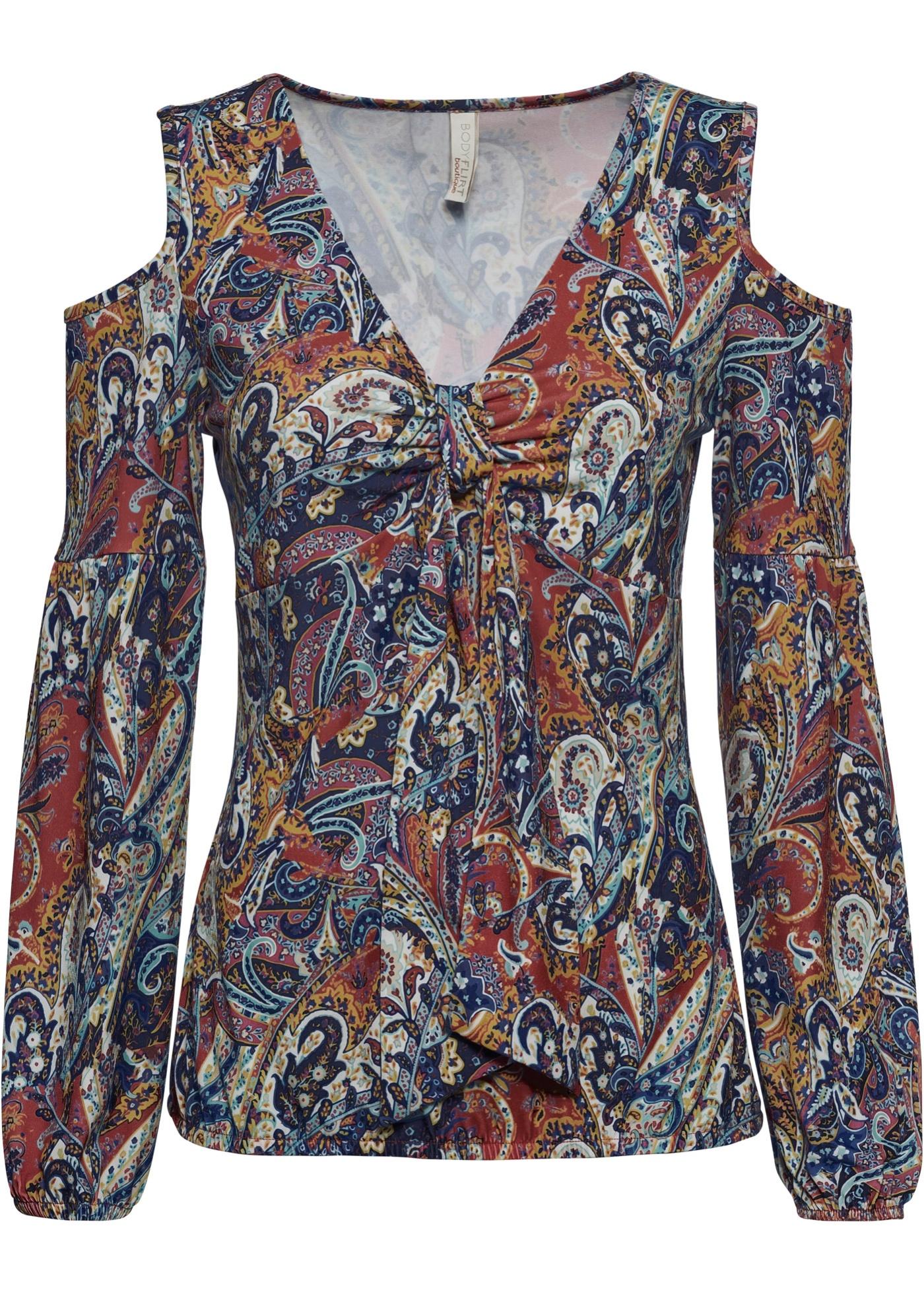 Cold-Shoulder-Shirt langarm  in rot für Damen von bonprix
