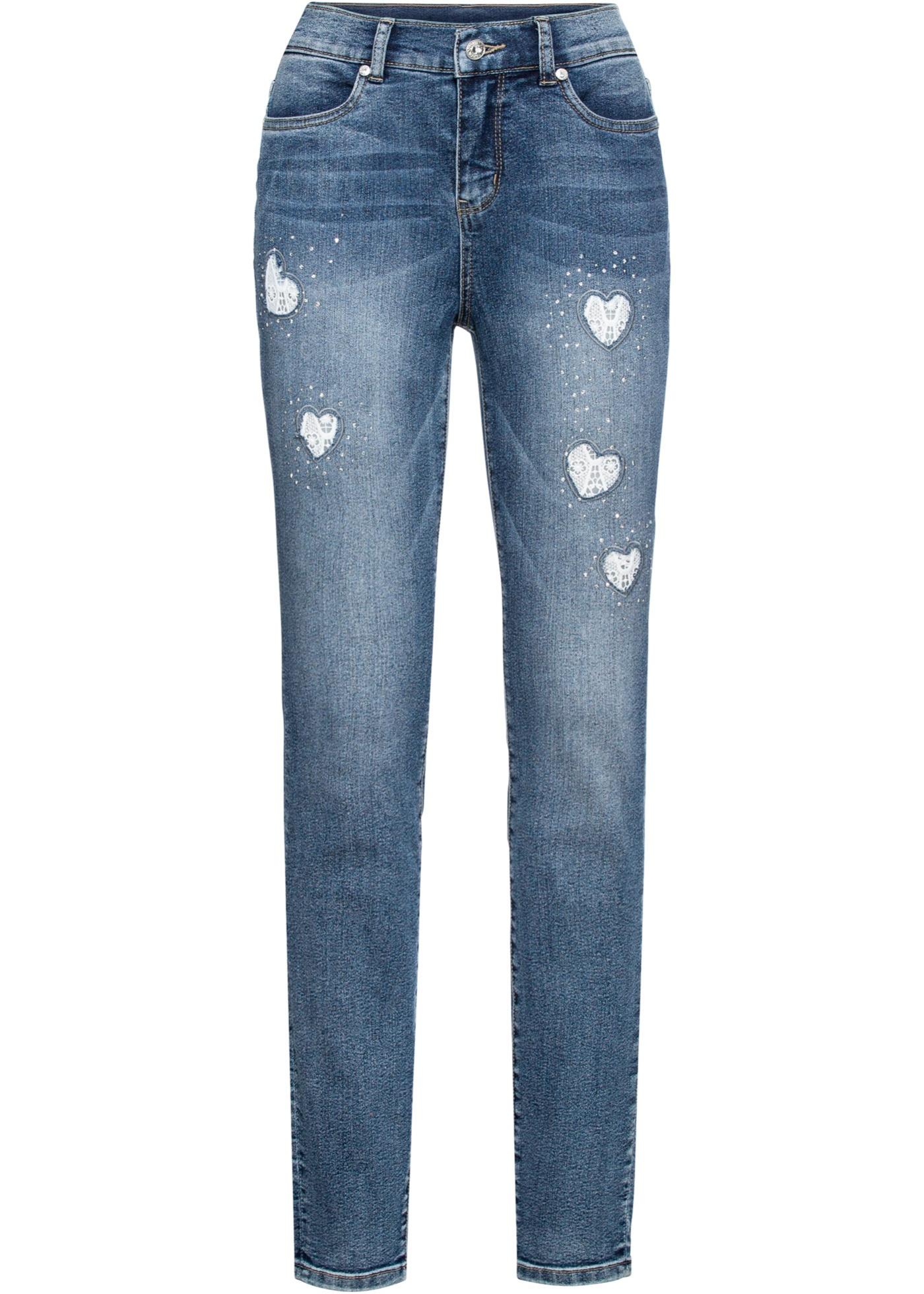 Jeans mit Spitzeneinsatz in blau für Damen von bonprix
