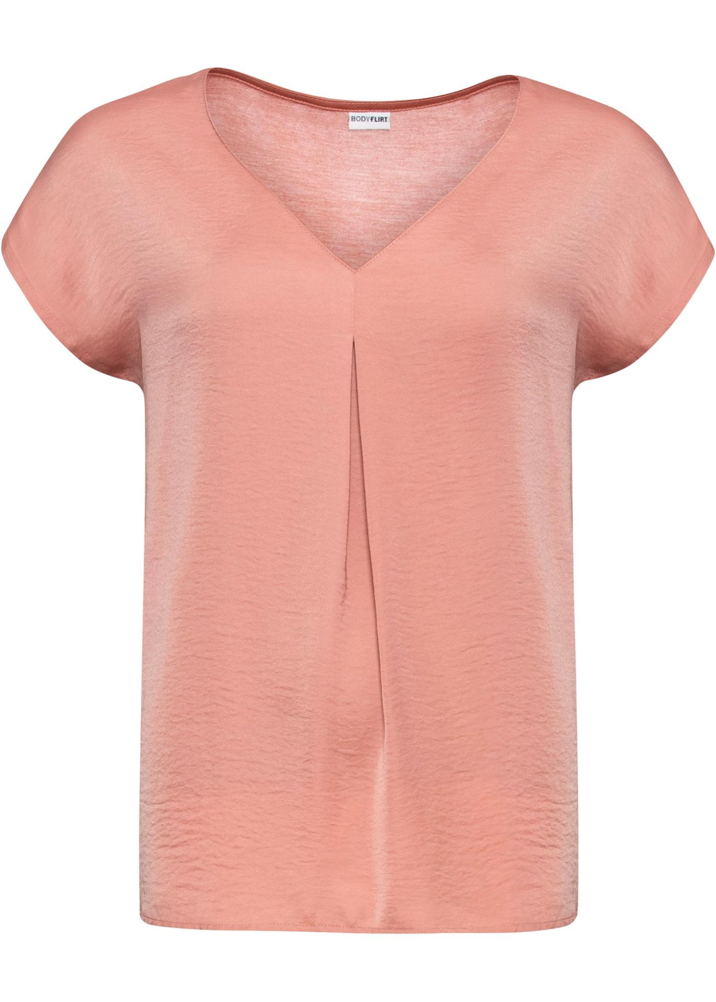 Shirt, Material-Mix ohne Ärmel  in rosa für Damen von bonprix