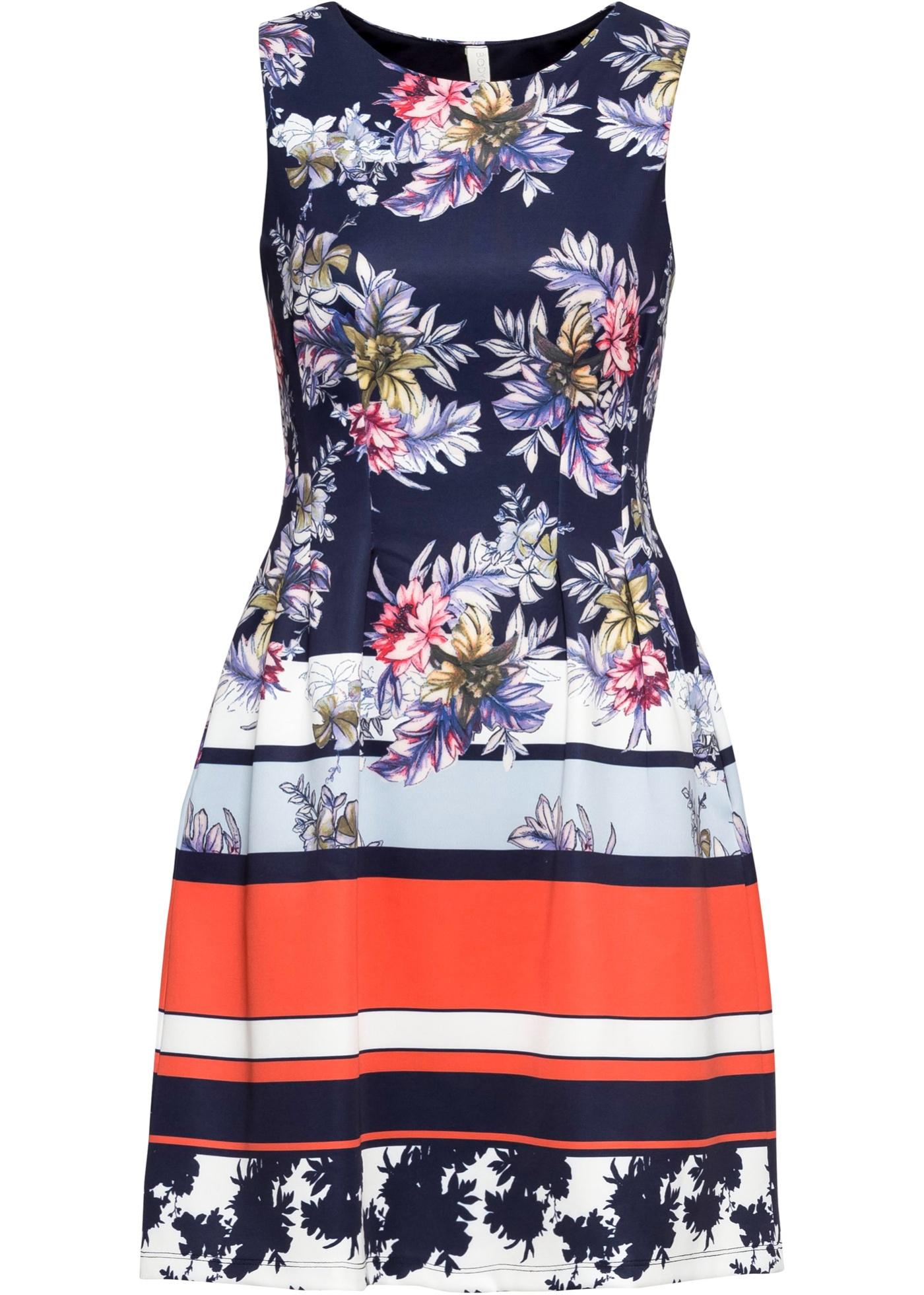 Kleid mit Blumenprint ohne Ärmel  in blau für Damen von bonprix