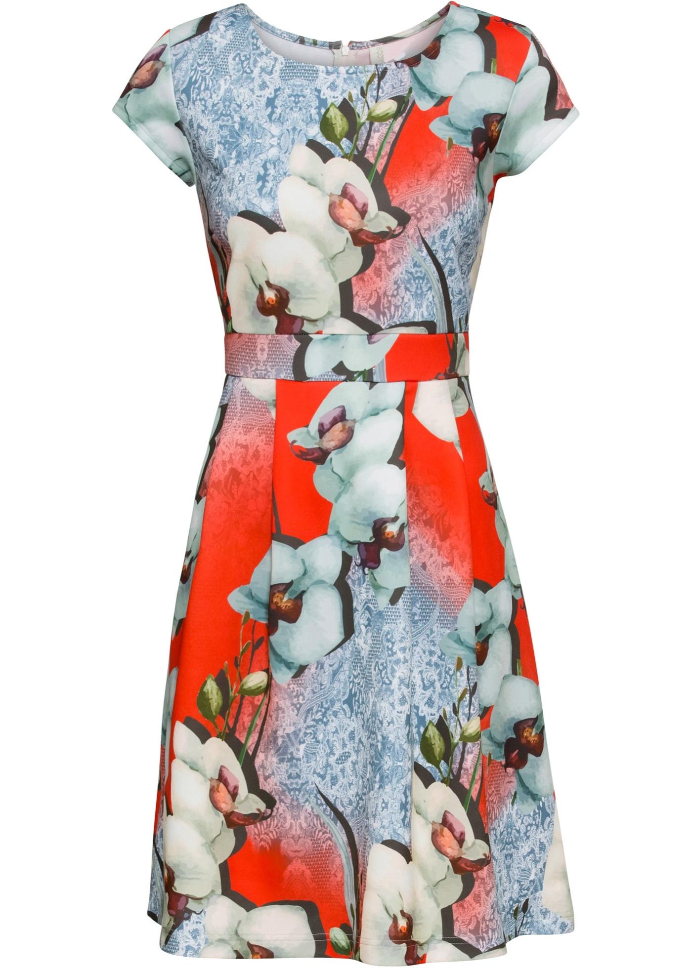 Kleid mit Muster kurzer Arm  in rot für Damen von bonprix