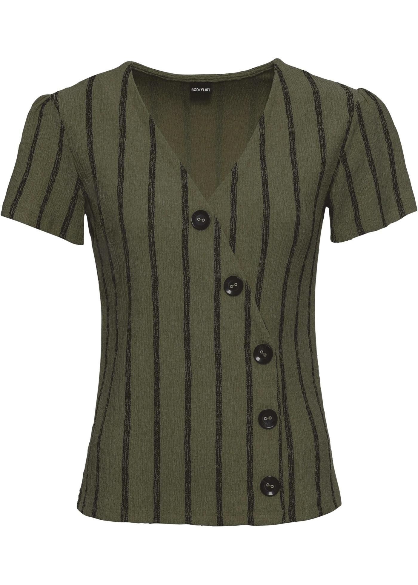 Shirt mit Knöpfen kurzer Arm  in grün für Damen von bonprix
