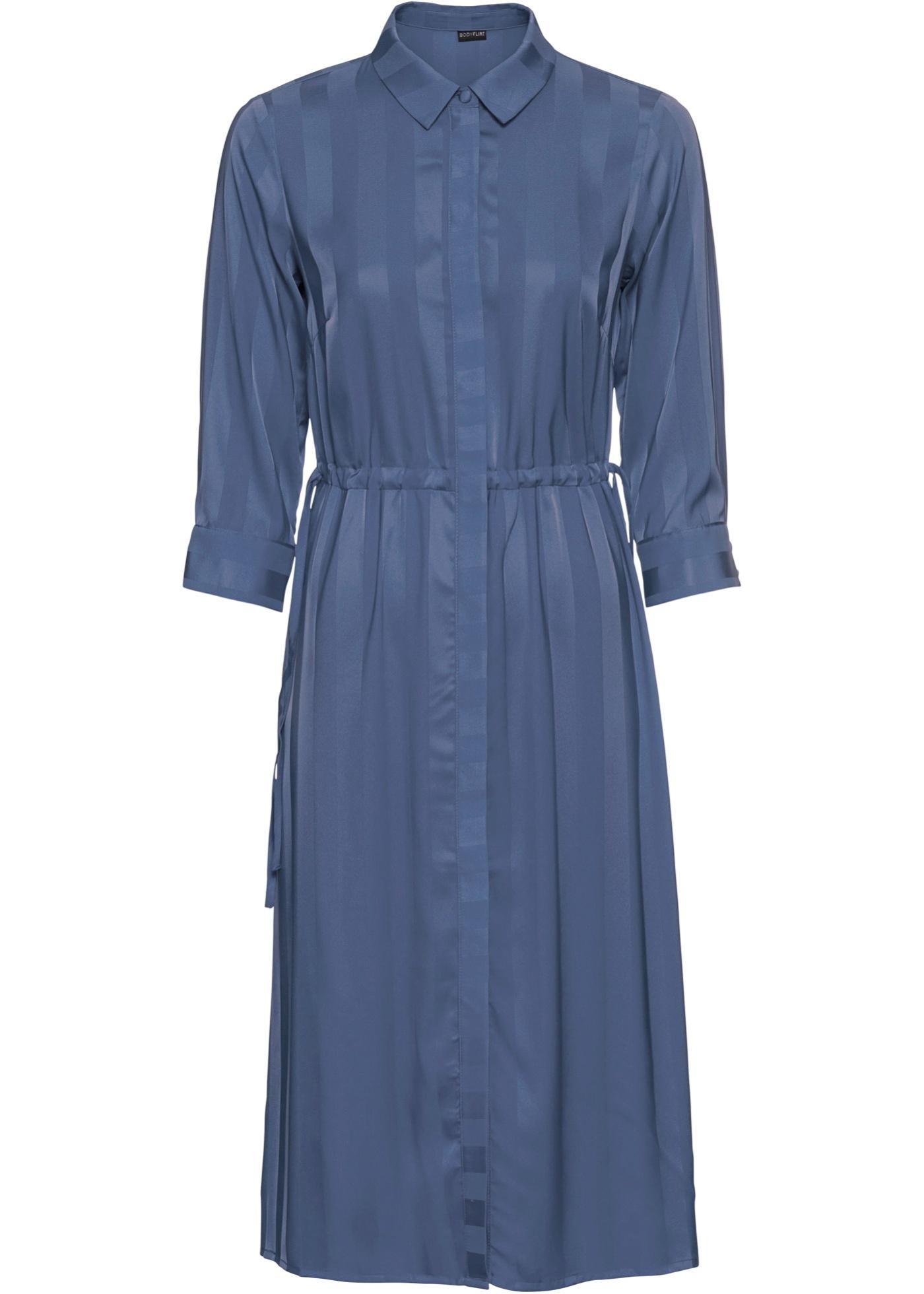 Hemdblusenkleid 3/4 Arm  in blau für Damen von bonprix