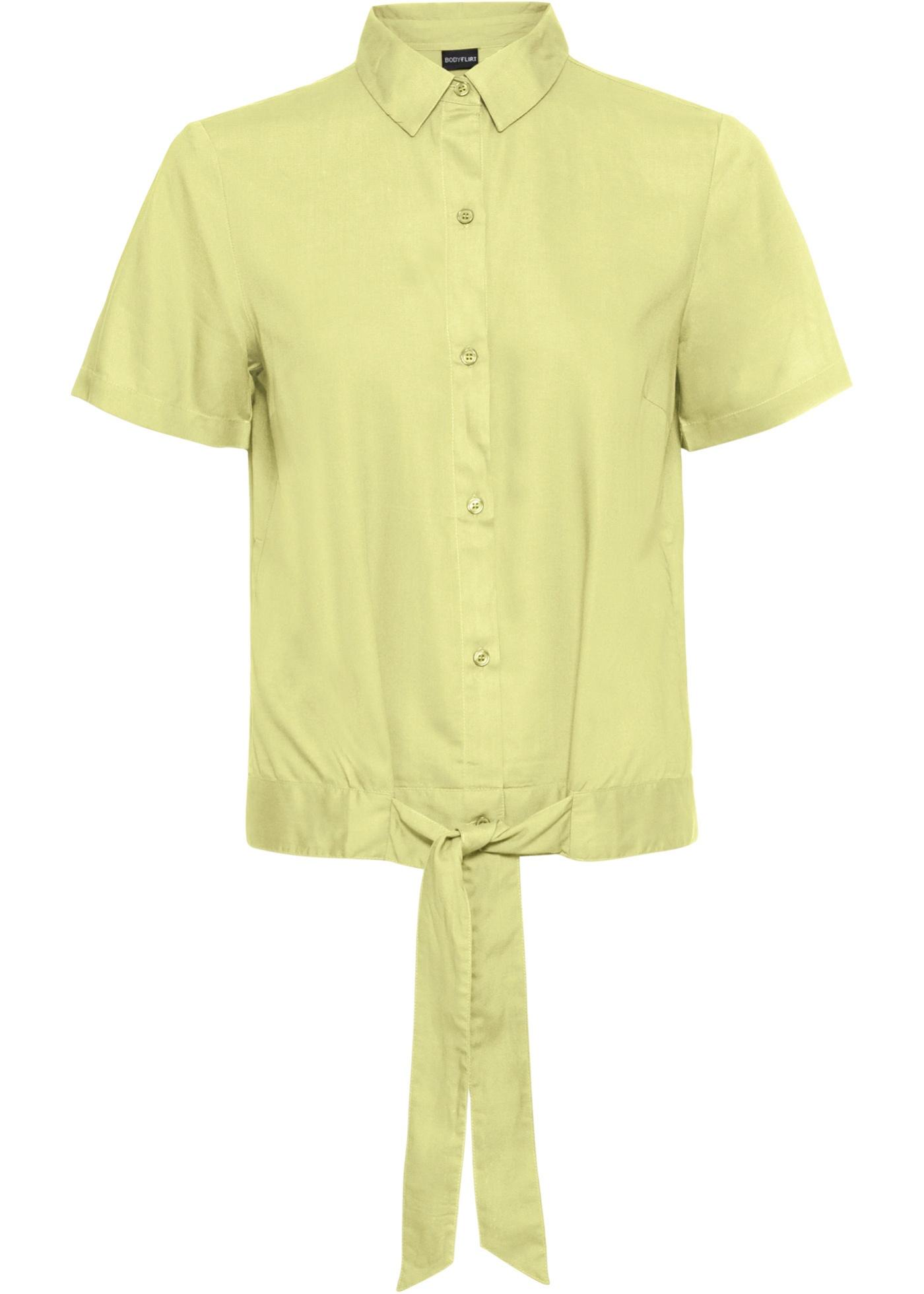 Bluse, Knoten kurzer Arm  in gelb für Damen von bonprix