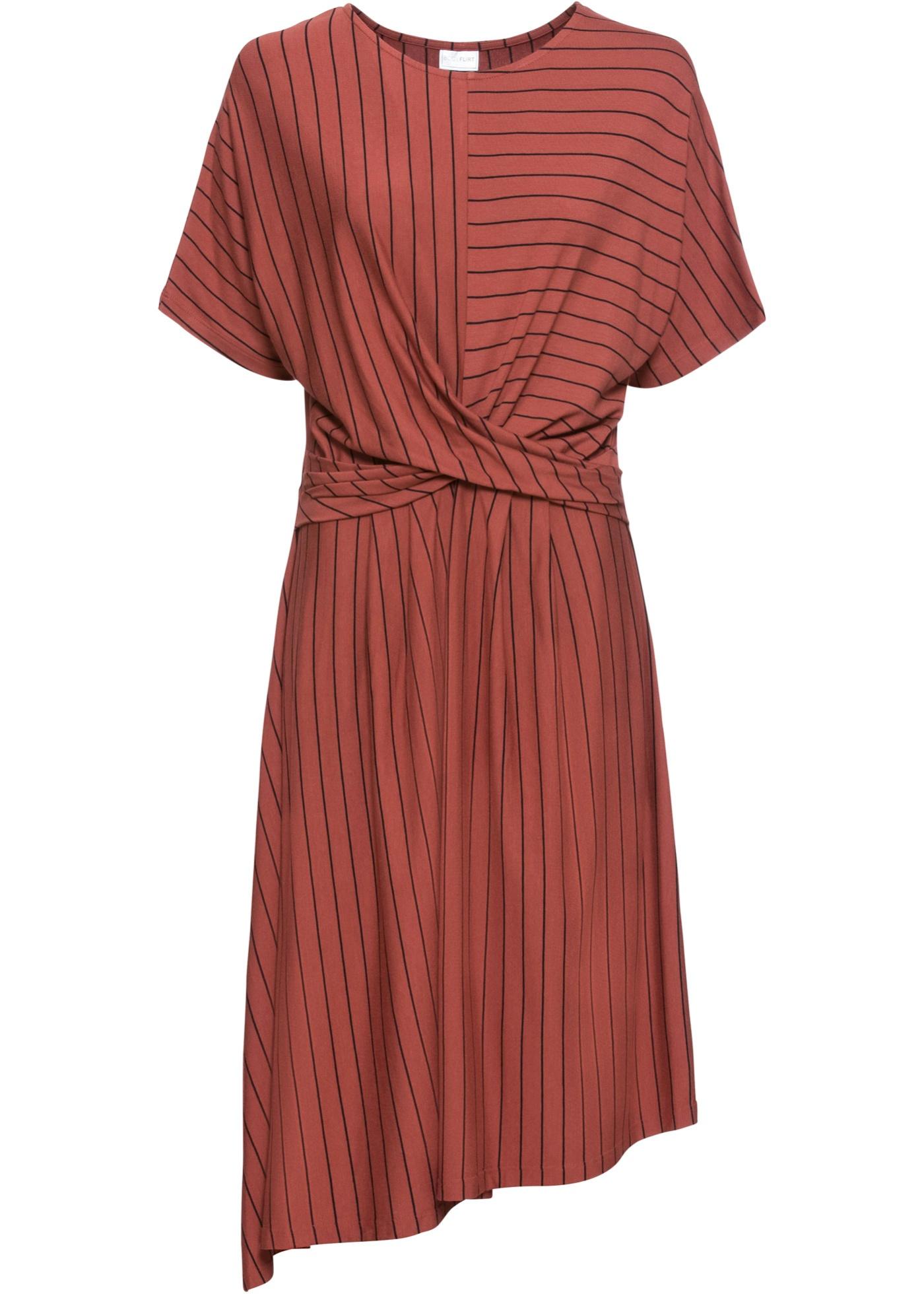 Jerseykleid, asymmetrisch kurzer Arm  in rot für Damen von bonprix