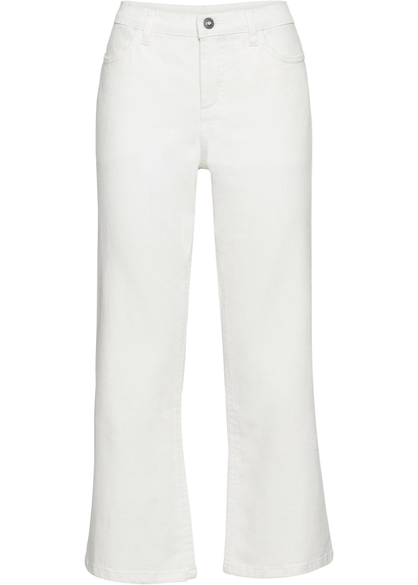 7/8-Hose, weites Bein in weiß für Damen von bonprix