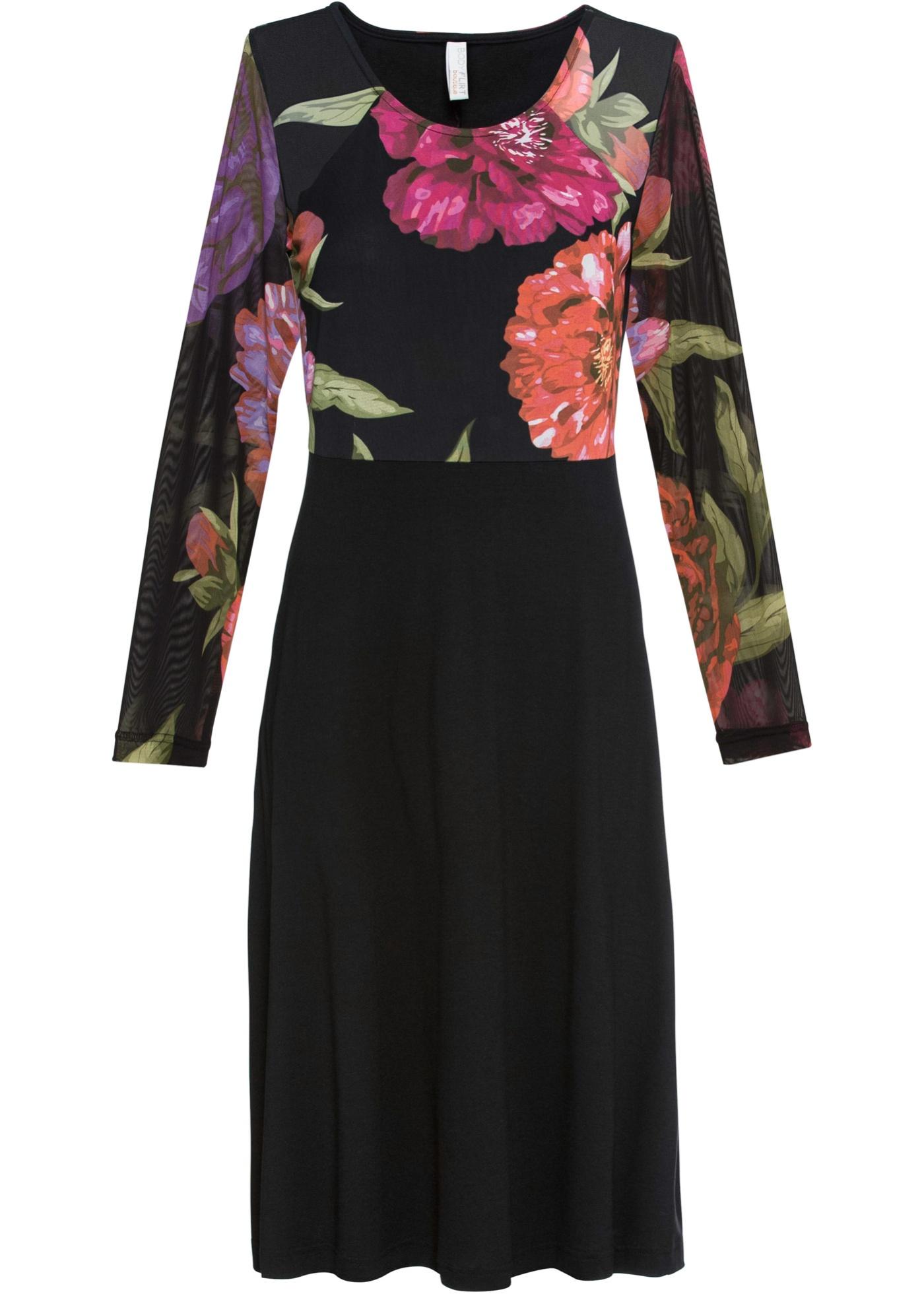 Kleid mit Blumenmotiv langarm  in schwarz für Damen von bonprix