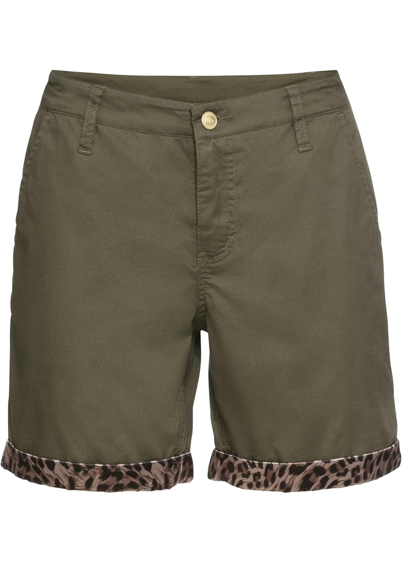 Chino-Shorts, Satin-Einsatz in grün für Damen von bonprix