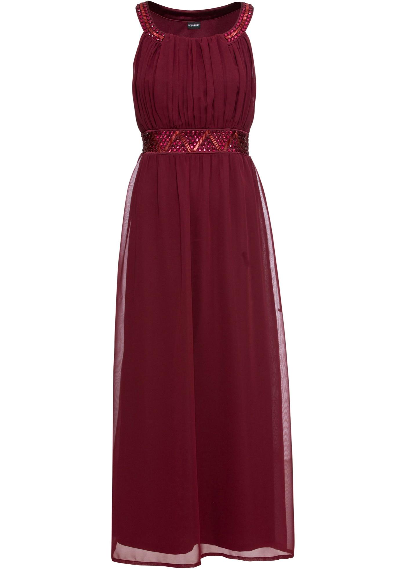 Kleid mit Schmuckstein-Applikation ohne Ärmel  in rot für Damen von bonprix