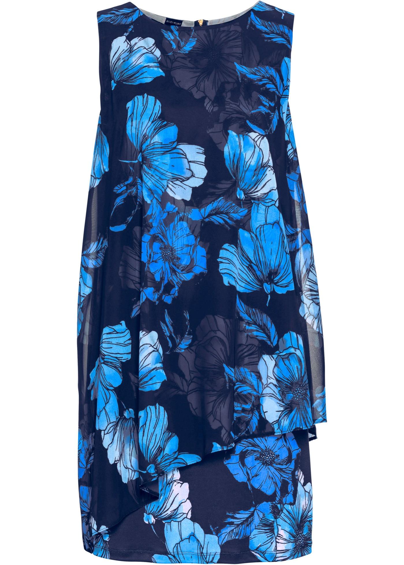 Bedrucktes Jersey-Kleid mit Chiffon ohne Ärmel  in blau für Damen von bonprix