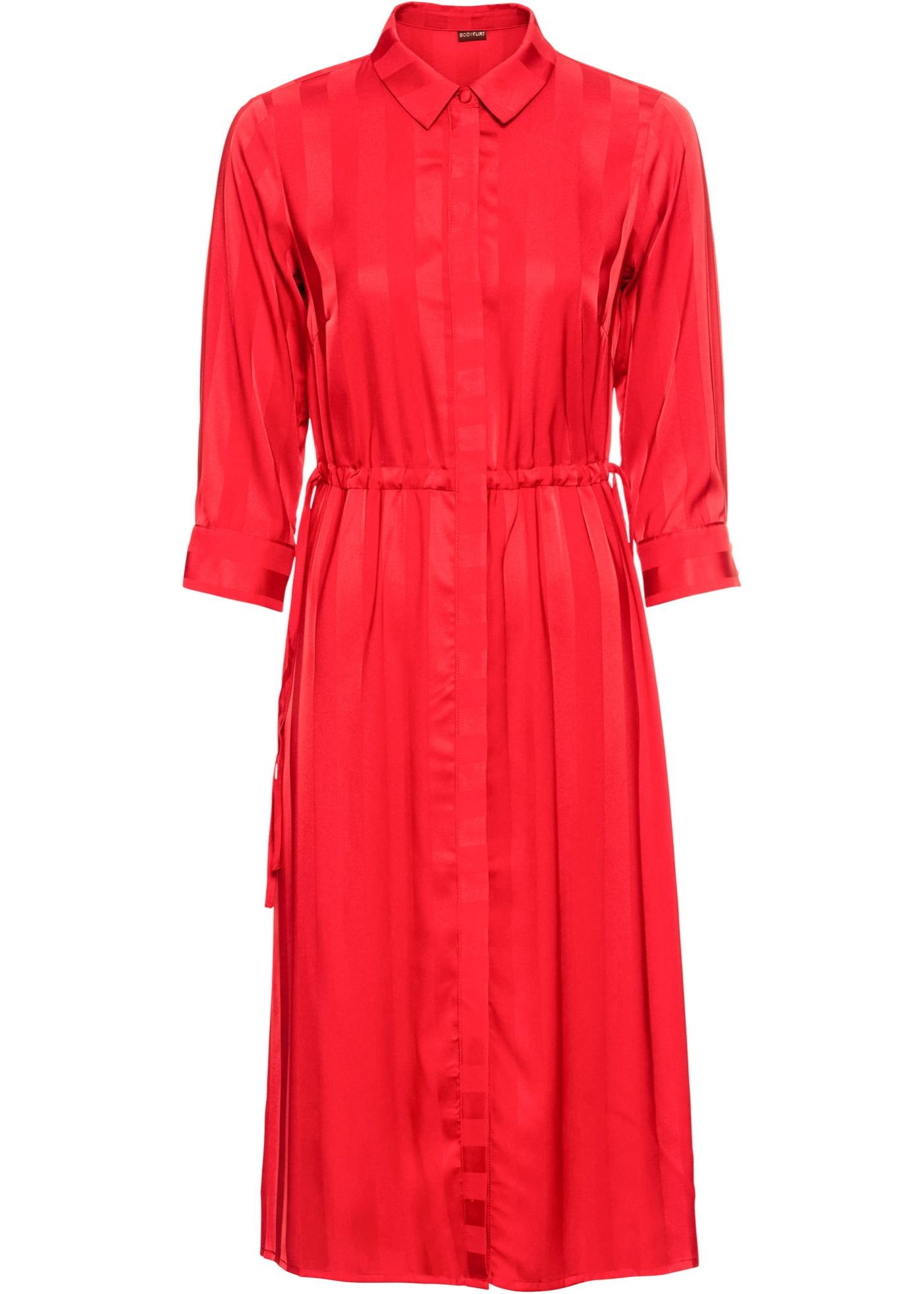 Hemdblusenkleid 3/4 Arm  in rot für Damen von bonprix