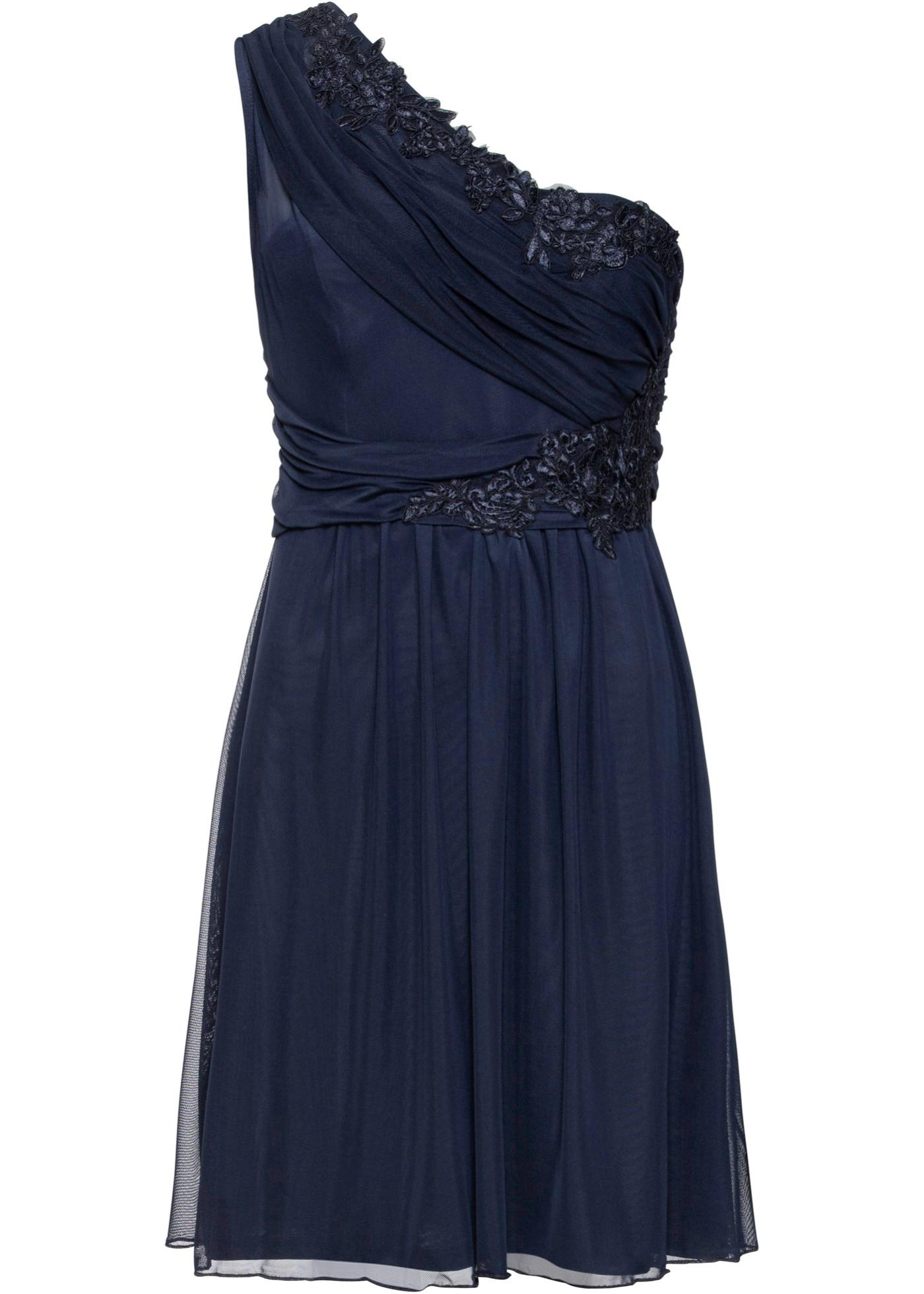 One-Shoulder-Kleid mit Spitze ohne Ärmel  in blau für Damen von bonprix