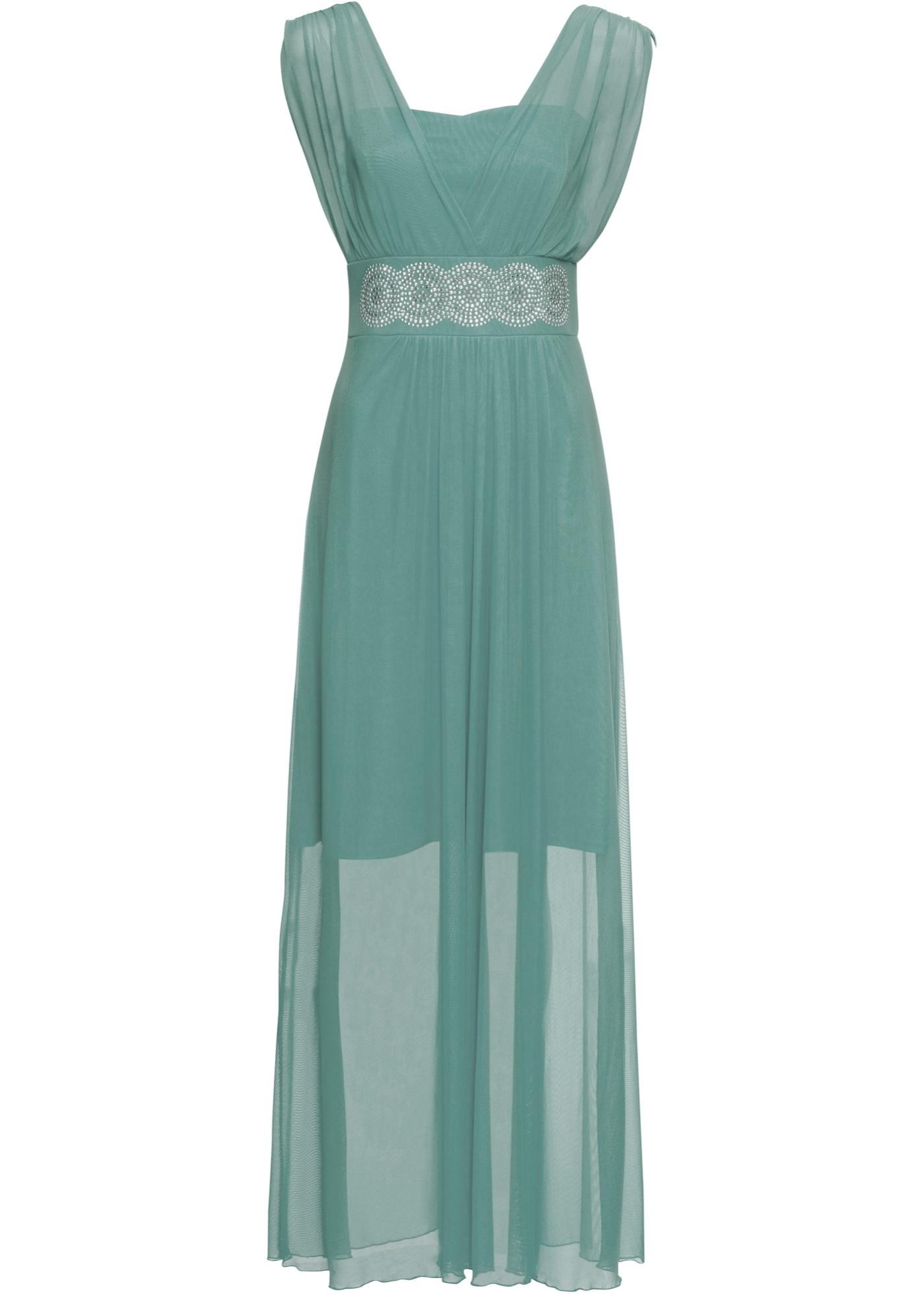 Kleid mit Strasssteinen ohne Ärmel  in blau für Damen von bonprix