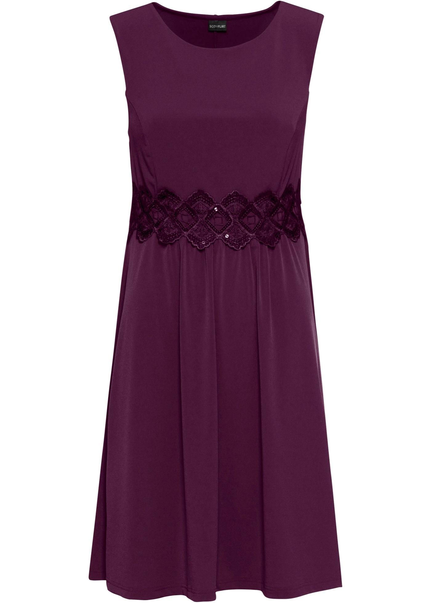 Jerseykleid mit Spitzeneinsatz ohne Ärmel  in lila für Damen von bonprix