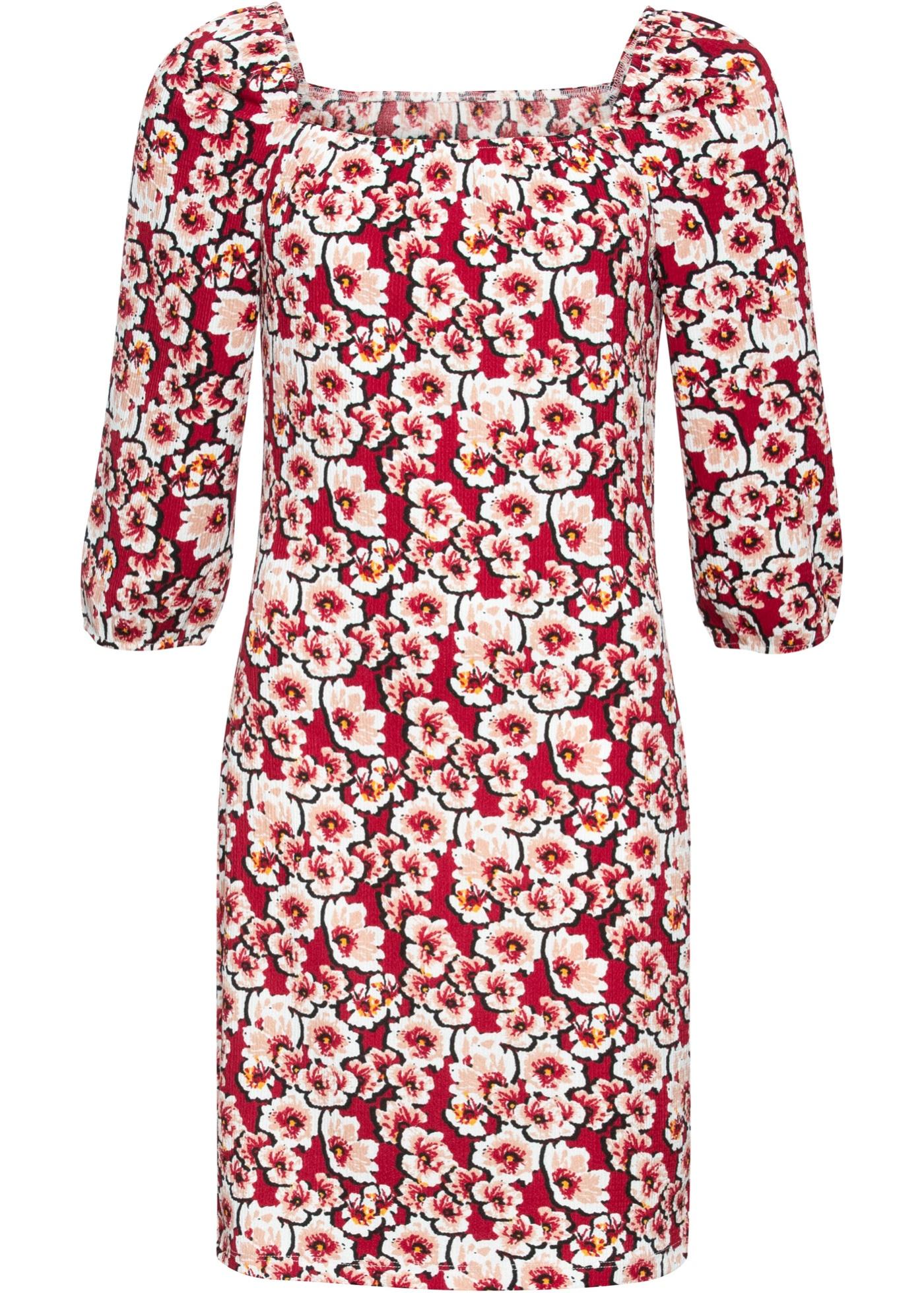 bedrucktes Kleid mit Carrée-Ausschnitt: Must Have 3/4 Arm  in rot für Damen von bonprix