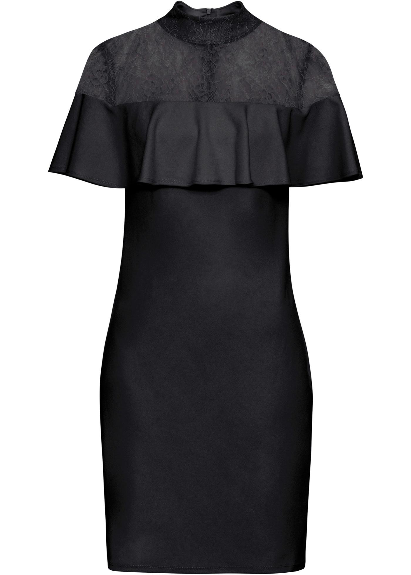 Kleid mit Spitzeneinsatz ohne Ärmel  in schwarz für Damen von bonprix