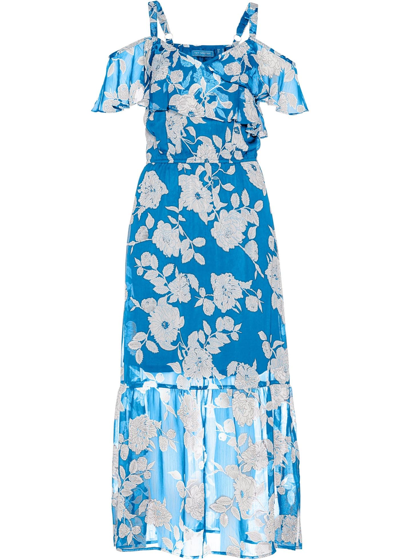 Chiffonkleid Flügelärmel  in blau für Damen von bonprix