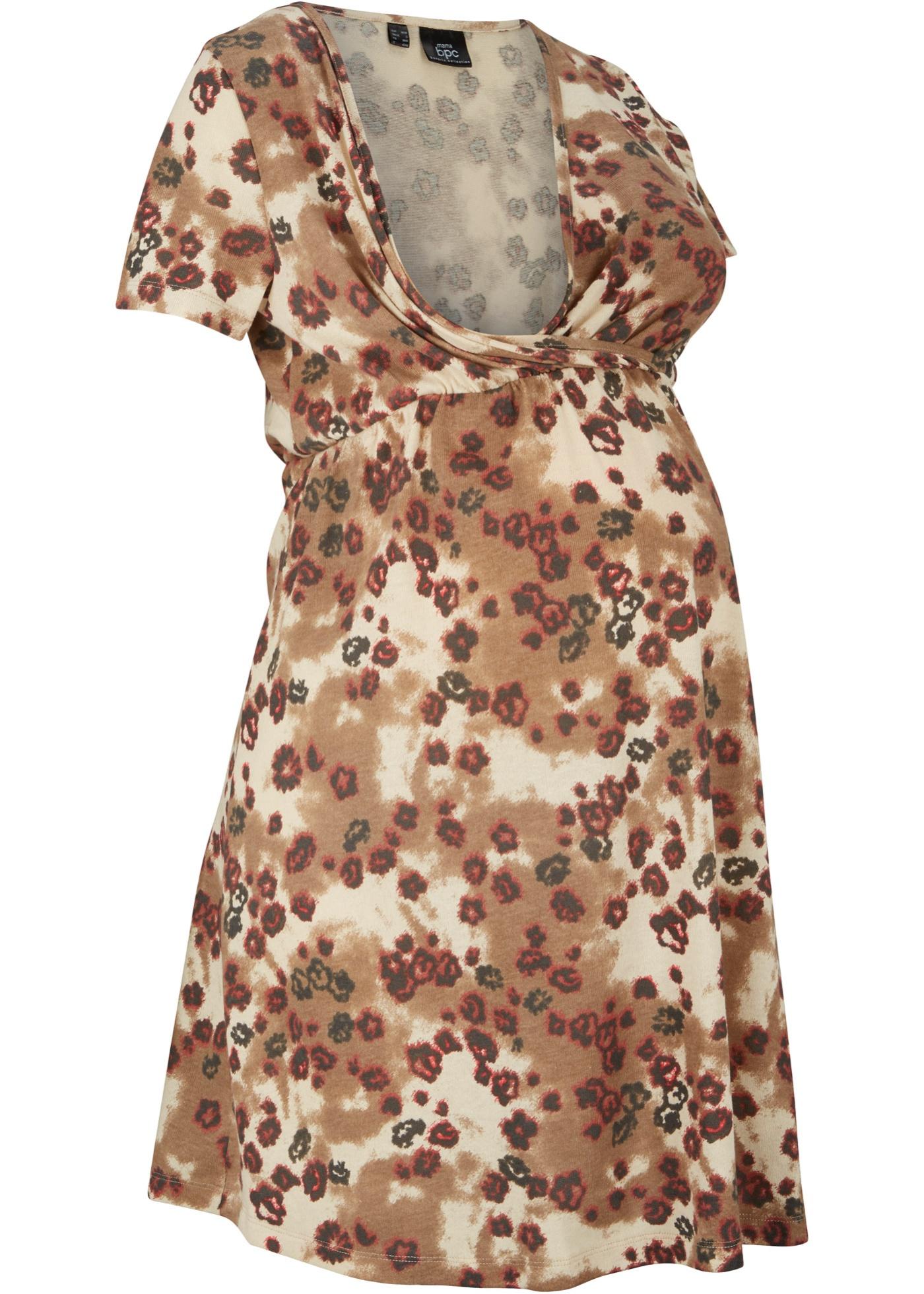 Umstandskleid / Stillkleid kurzer Arm  in beige für Damen von bonprix