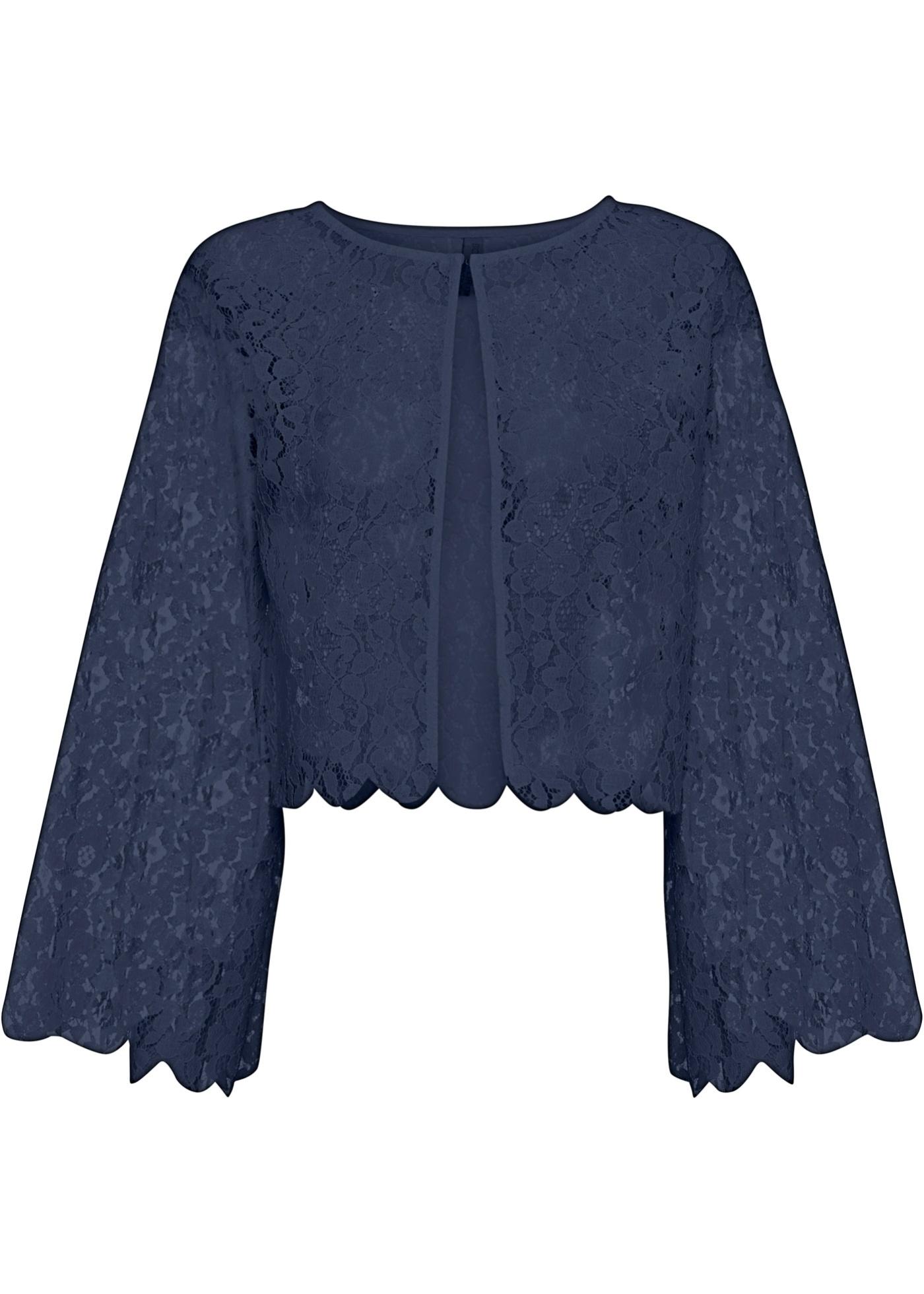 Bolero in Spitze langarm  in blau für Damen von bonprix