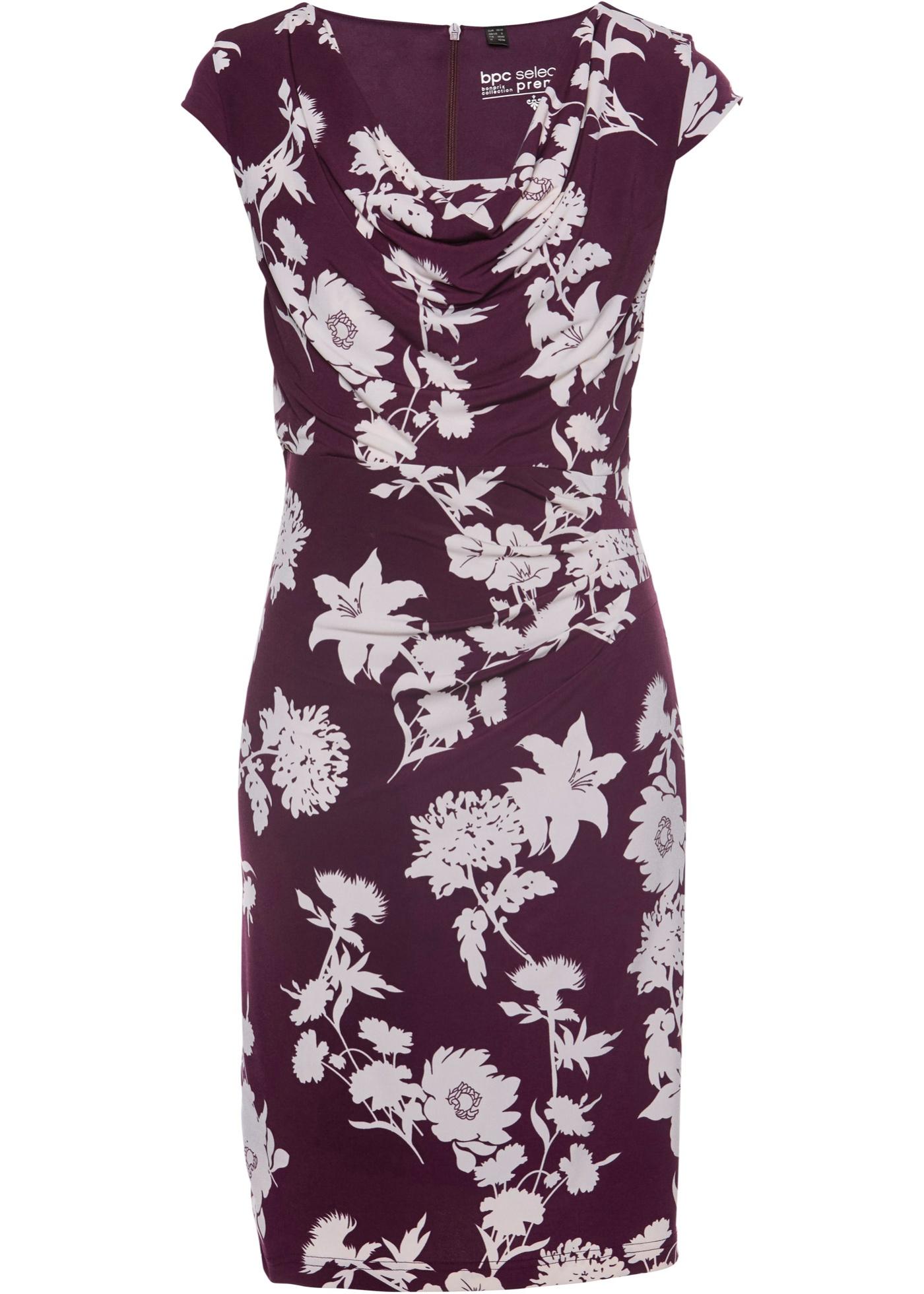 Shirtkleid bedruckt kurzer Arm  in lila für Damen von bonprix