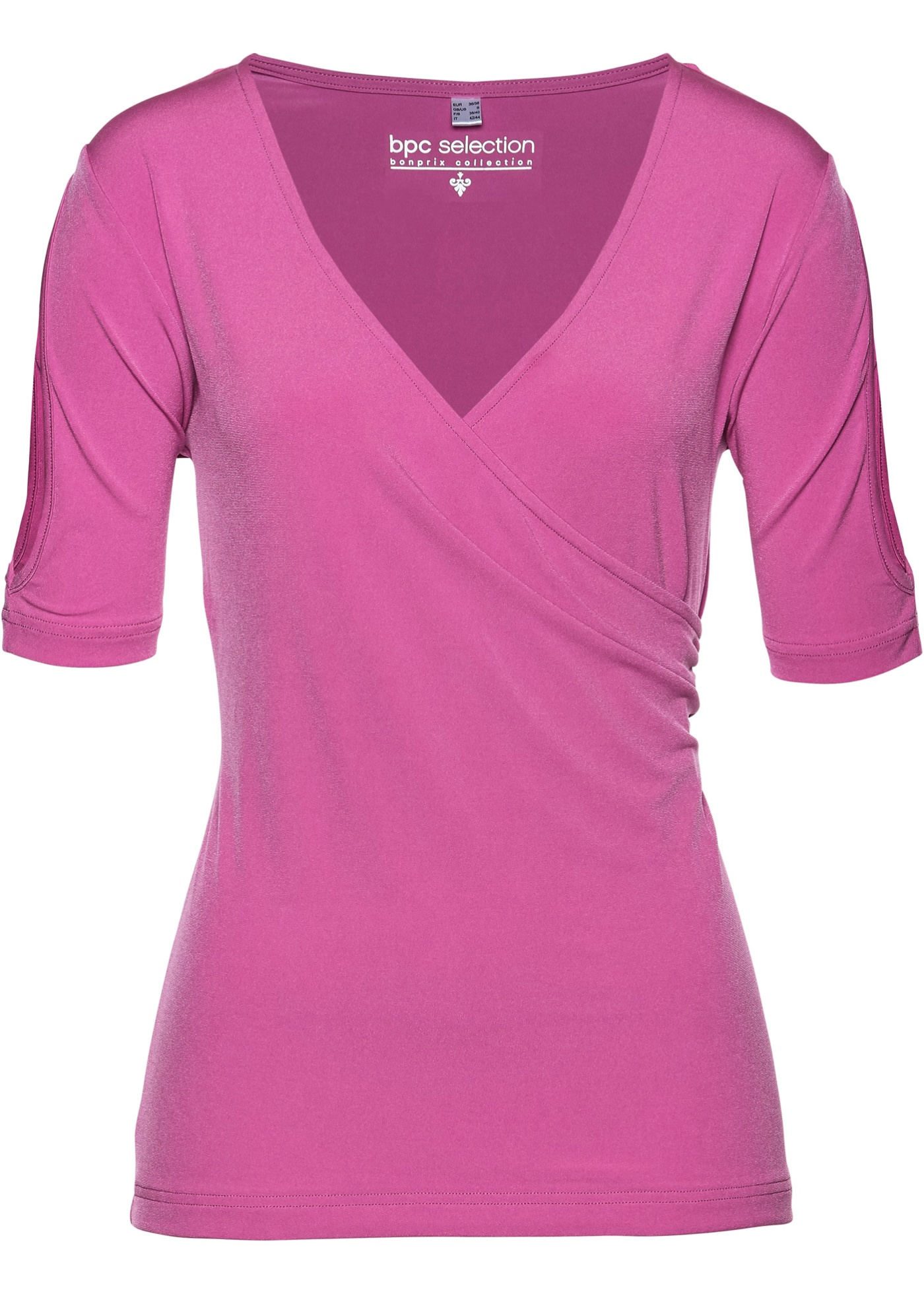 Shirt mit Cut-Out halber Arm  in pink für Damen von bonprix