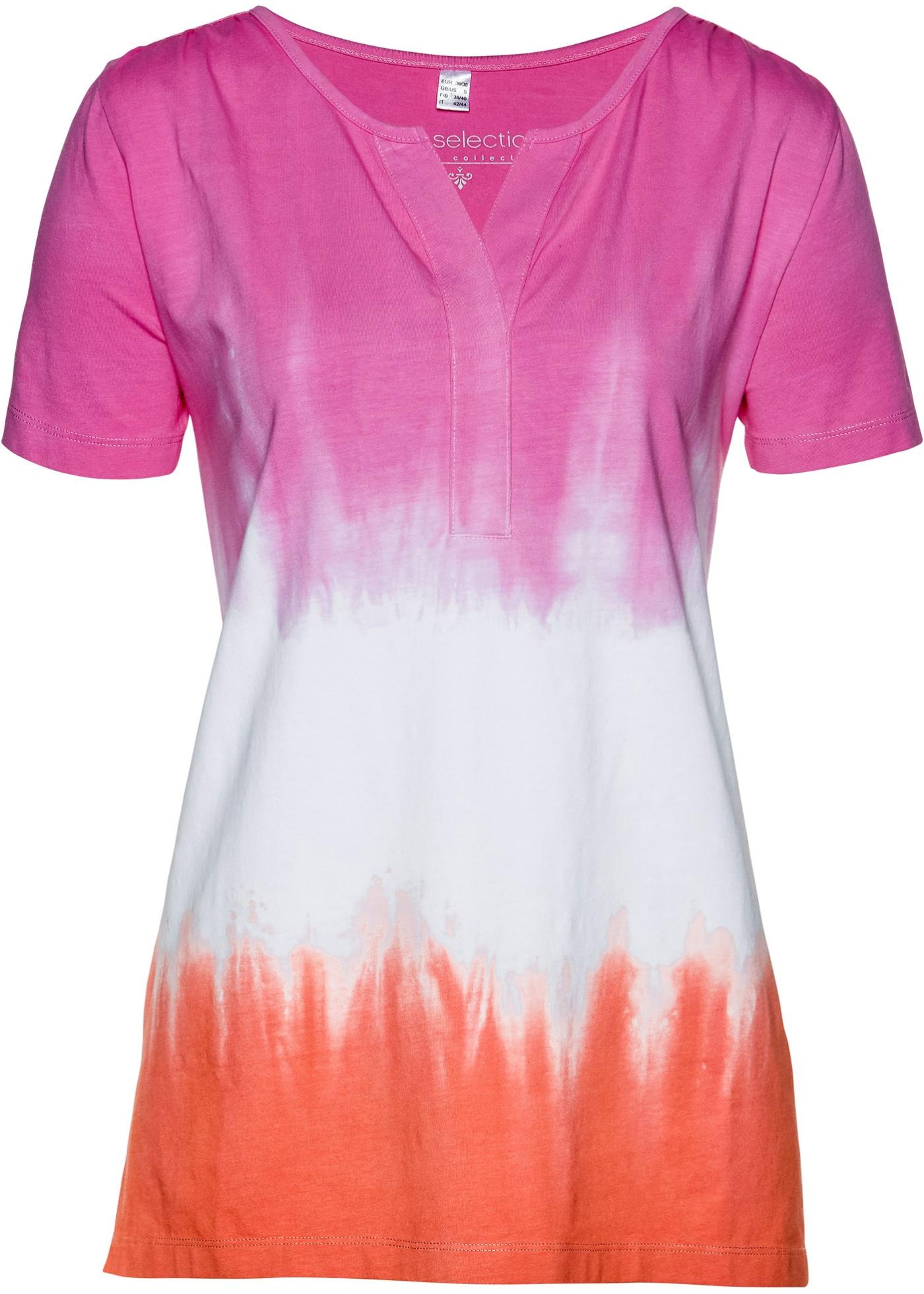 Shirt mit Batikdruck kurzer Arm  in pink für Damen von bonprix