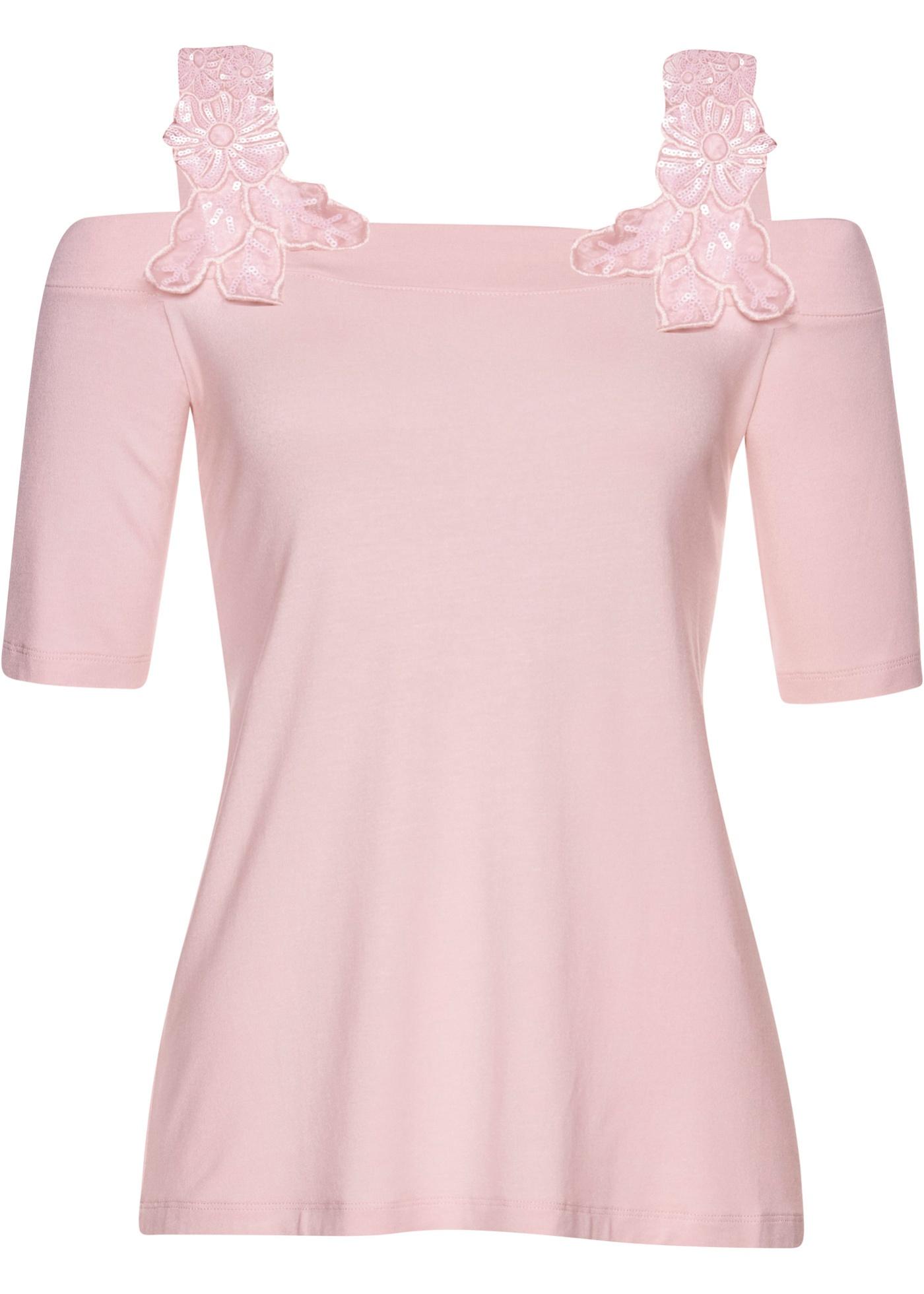 Shirt ohne Ärmel  in rosa (Carmen-Ausschnitt) für Damen von bonprix