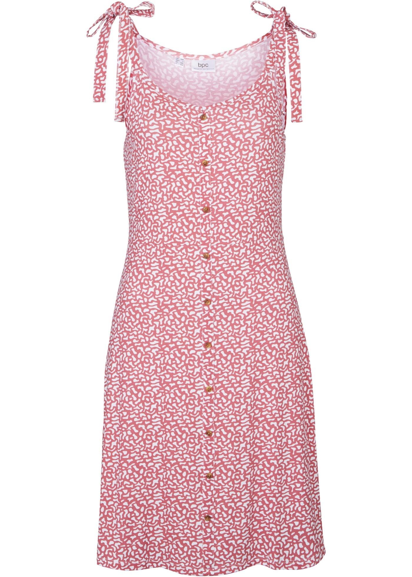 Shirtkleid mit Knopfleiste ohne Ärmel  in pink für Damen von bonprix
