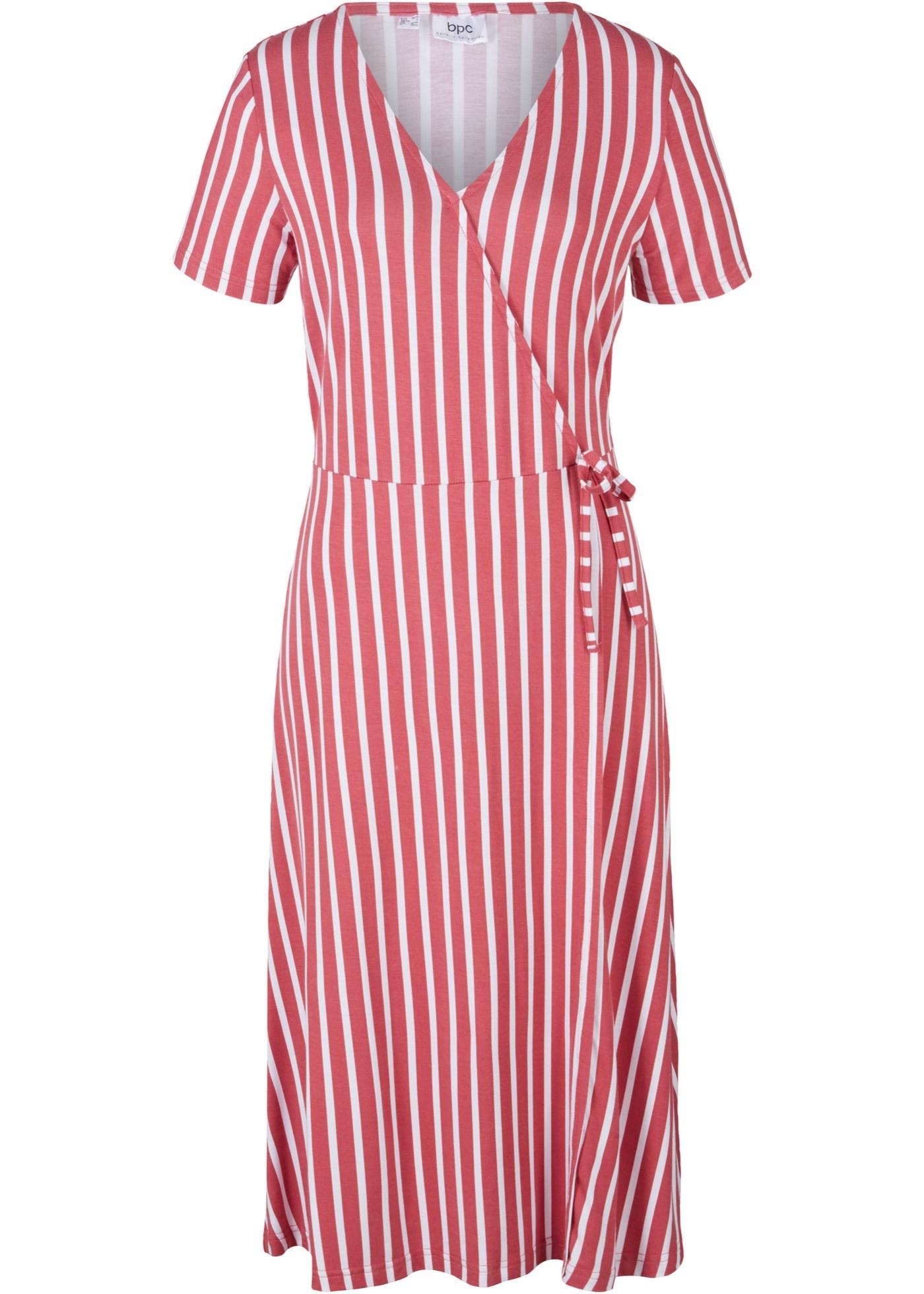 Jerseykleid in Wickeloptik kurzer Arm  in pink für Damen von bonprix