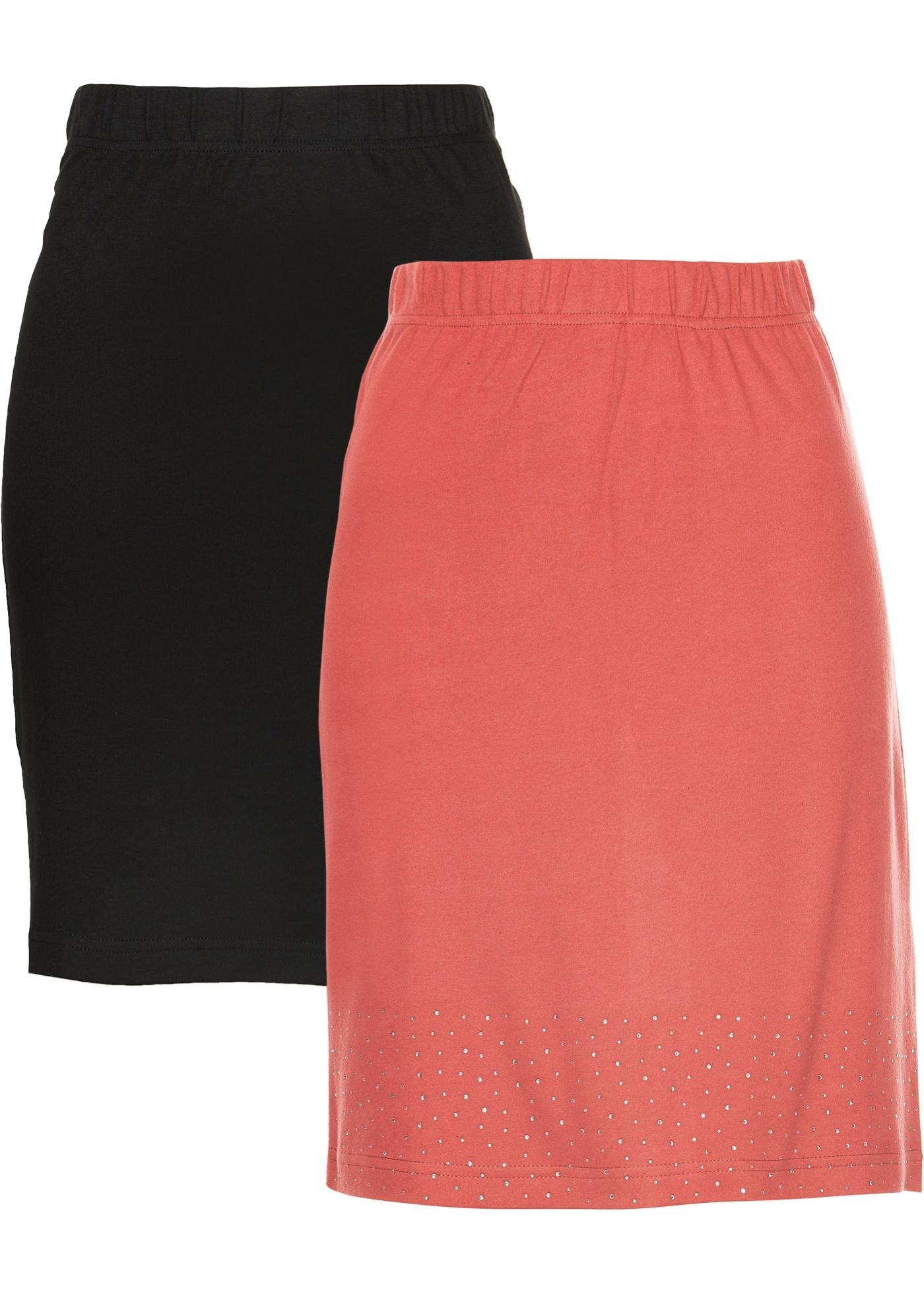 Doppelpack Jersey-Rock in pink für Damen von bonprix