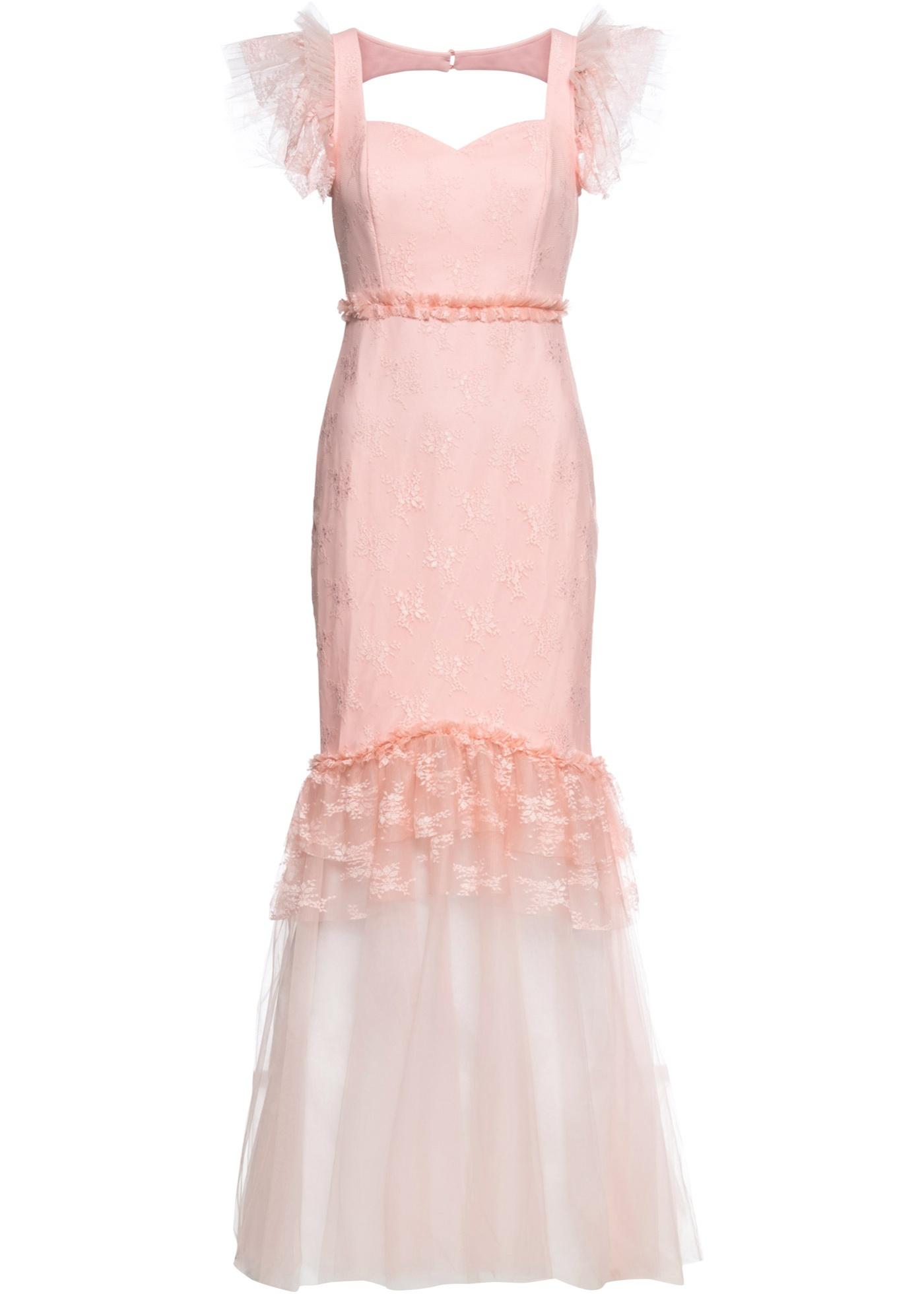 Kleid mit Spitze Flügelärmel  in rosa für Damen von bonprix