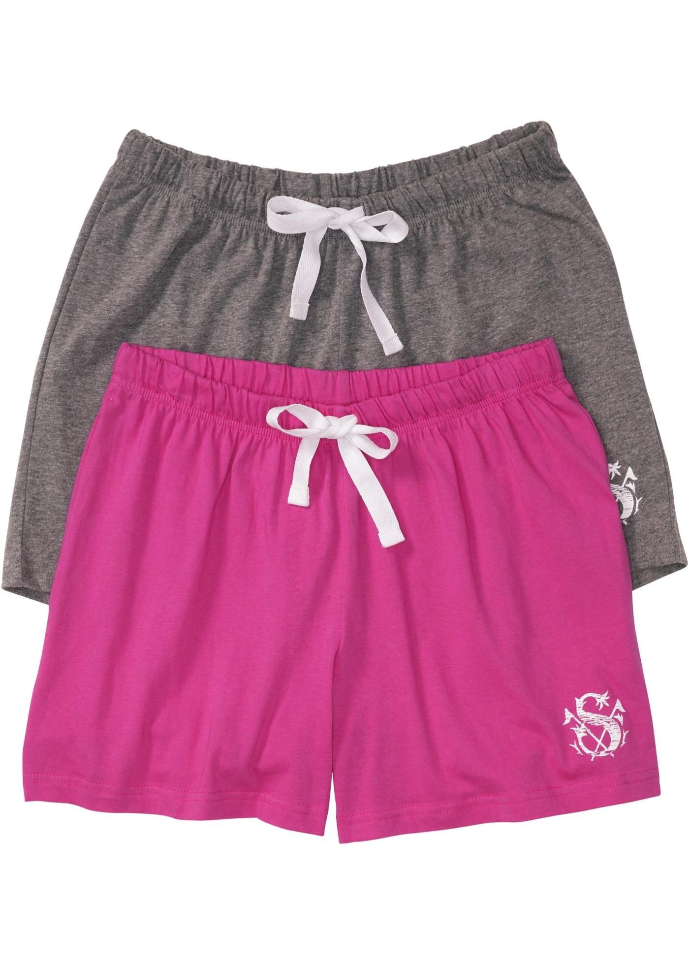 Schlaf Shorts (2er Pack) in grau für Damen von bonprix