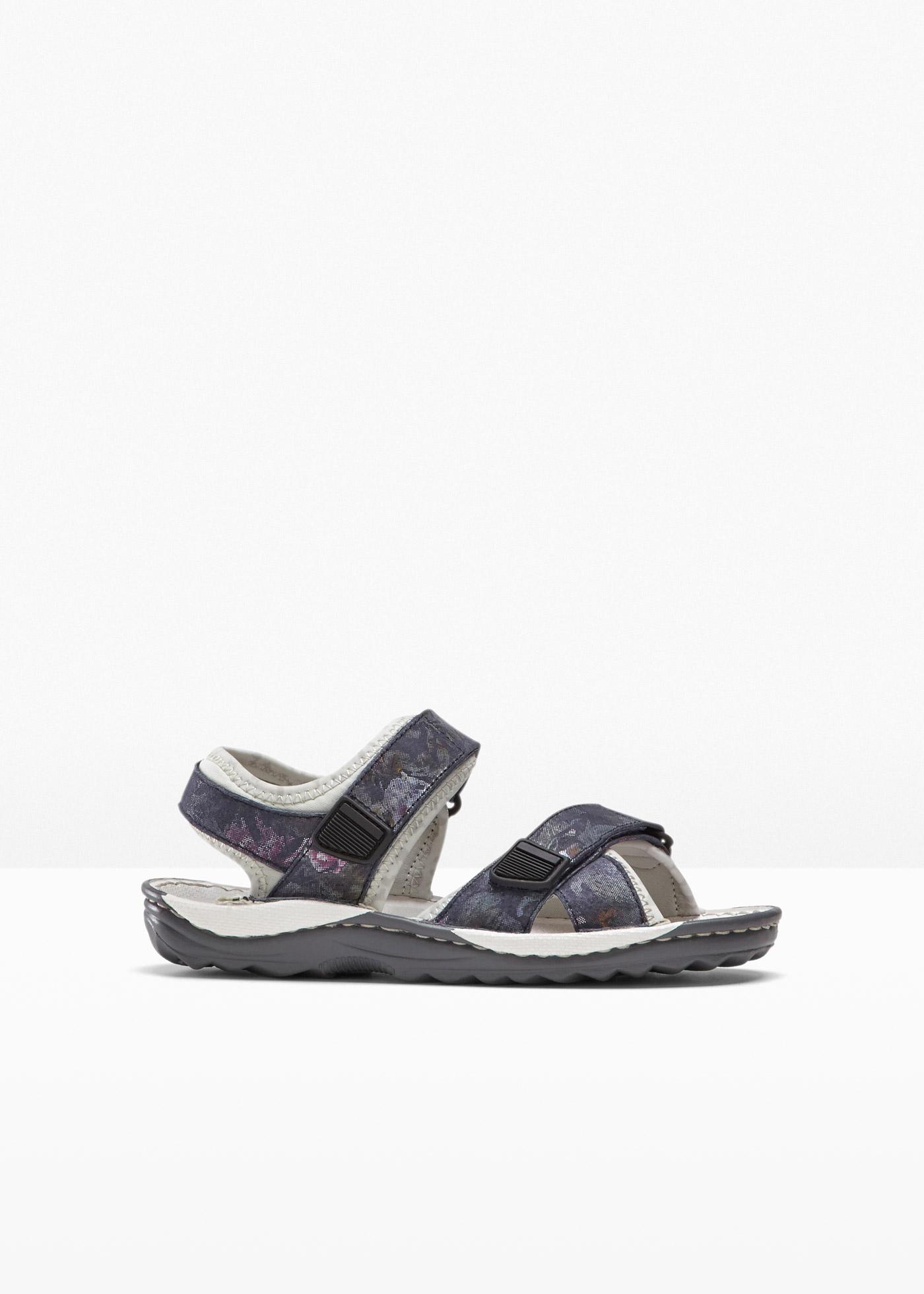 bequeme Trekking Sandale mit 0 cm Flach in blau von bonprix
