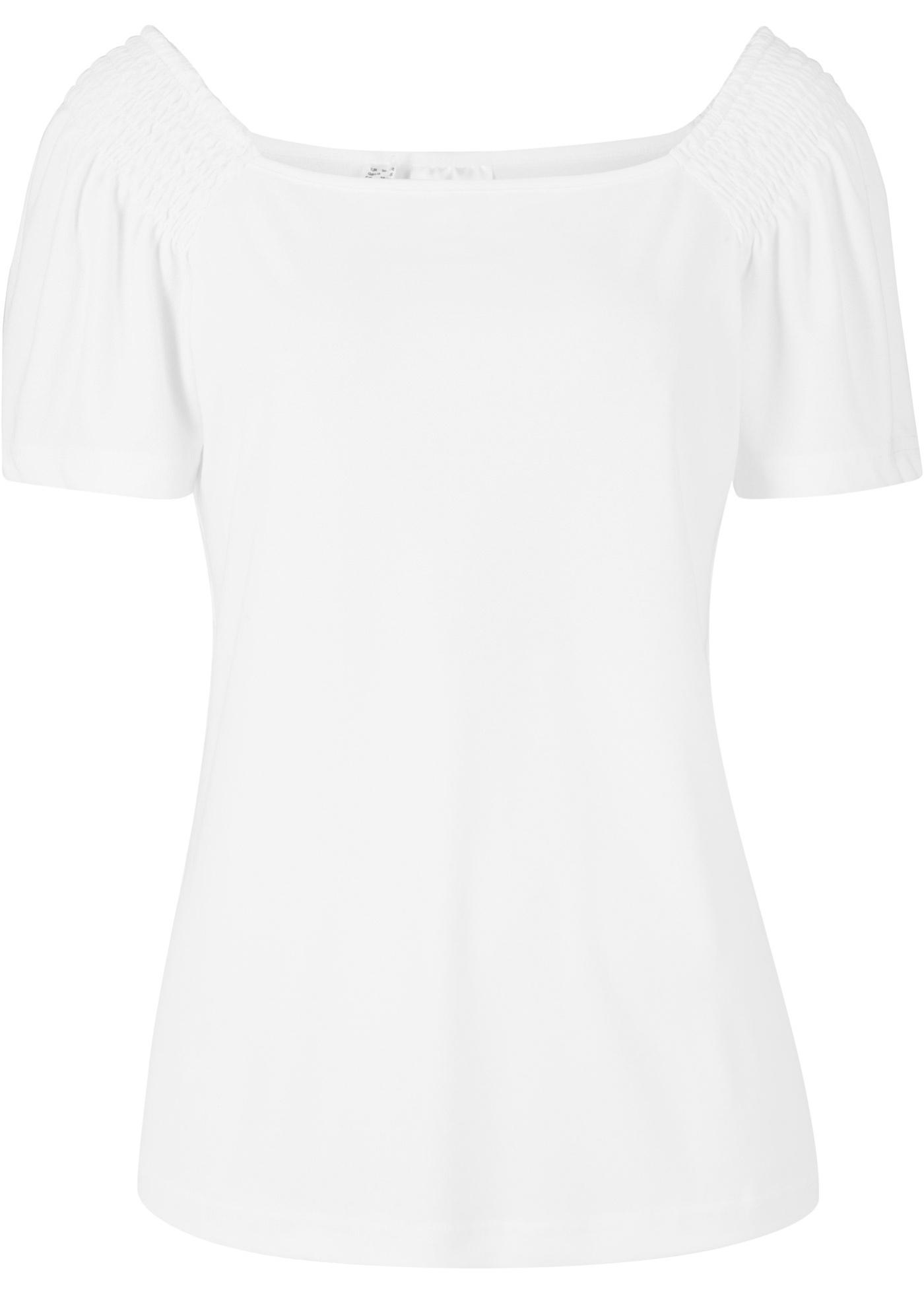 Shirt in Jerseycrepe kurzer Arm  in weiß für Damen von bonprix