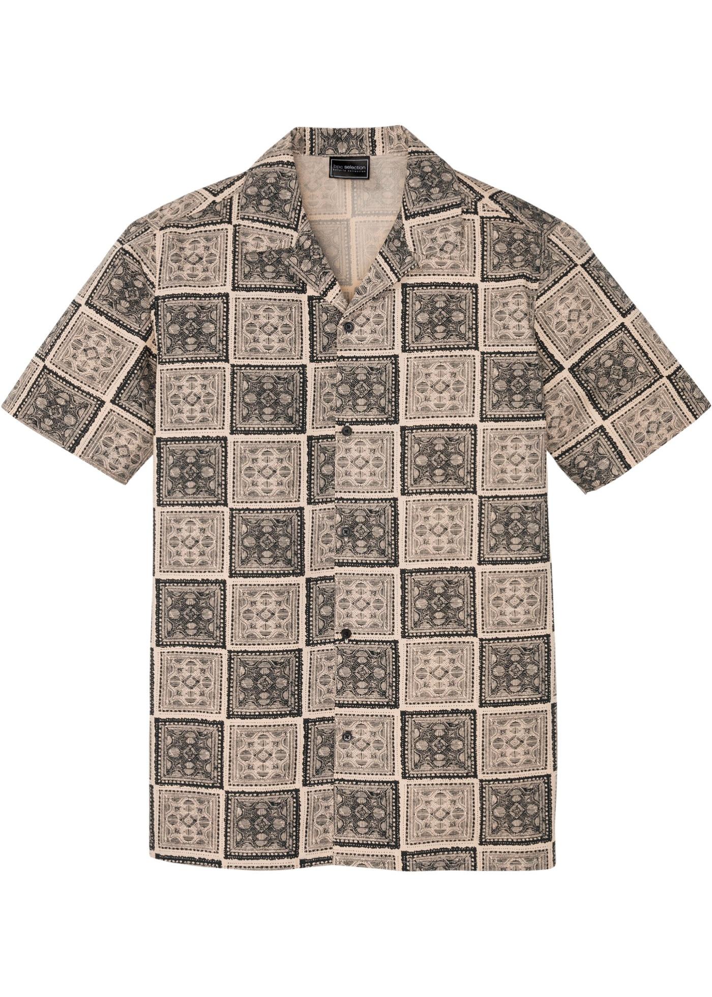 Kurzarmhemd bedruckt in beige für Herren von bonprix