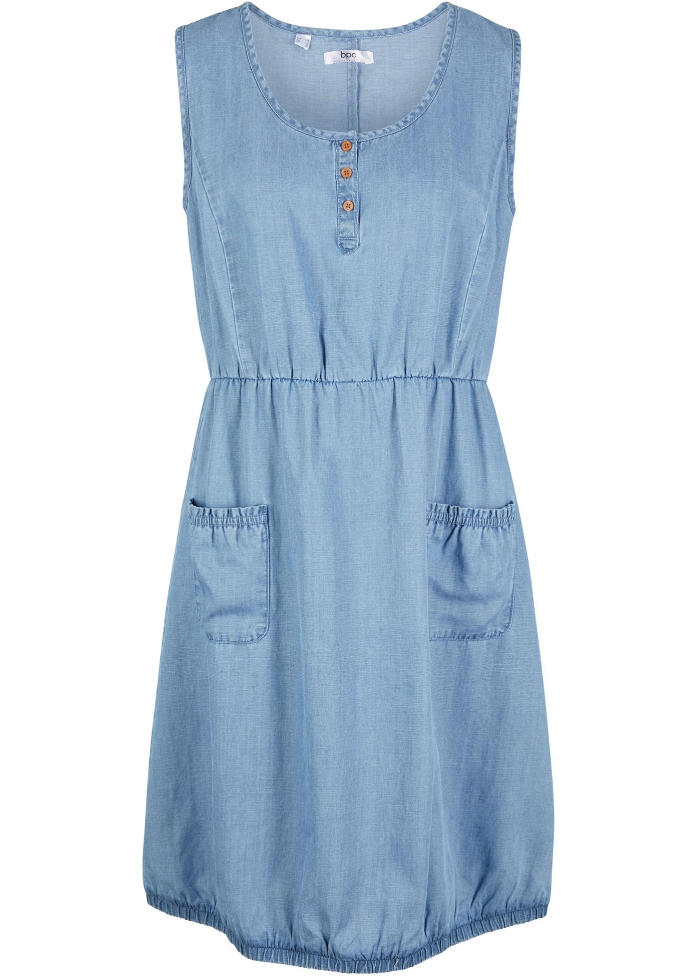Jeanskleid in Hänger-Optik ohne Ärmel  in blau für Damen von bonprix