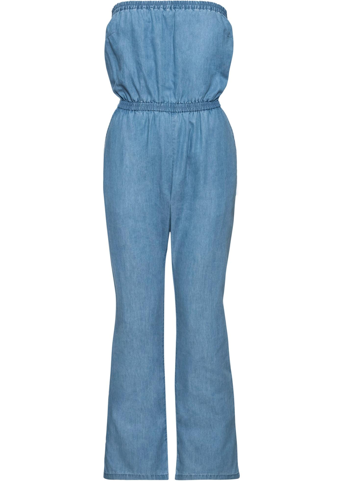 Jeans-Jumpsuit Bandeau ohne Ärmel  in blau für Damen von bonprix