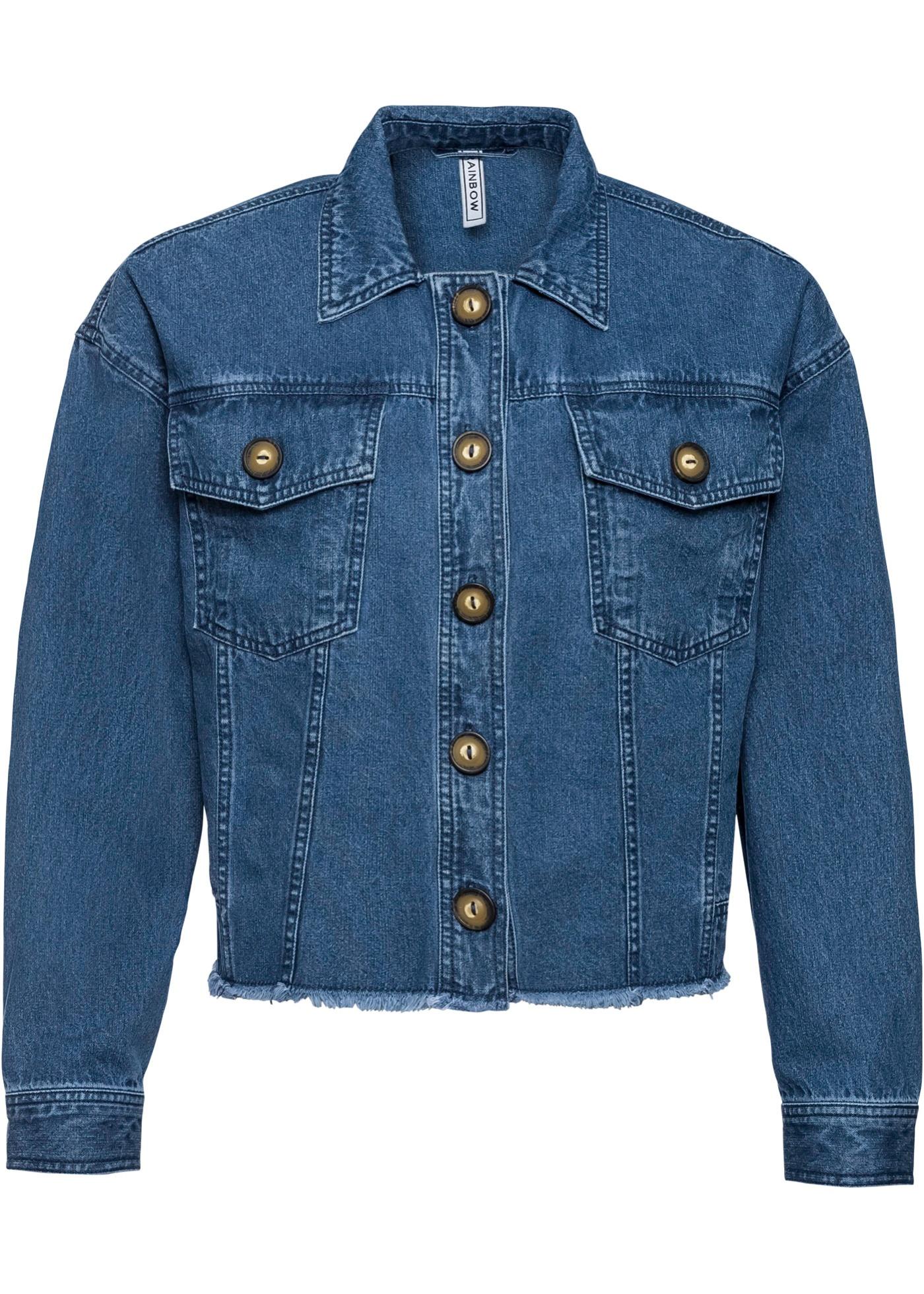 Jeansjacke mit Knöpfen in Hornoptik langarm  in blau für Damen von bonprix