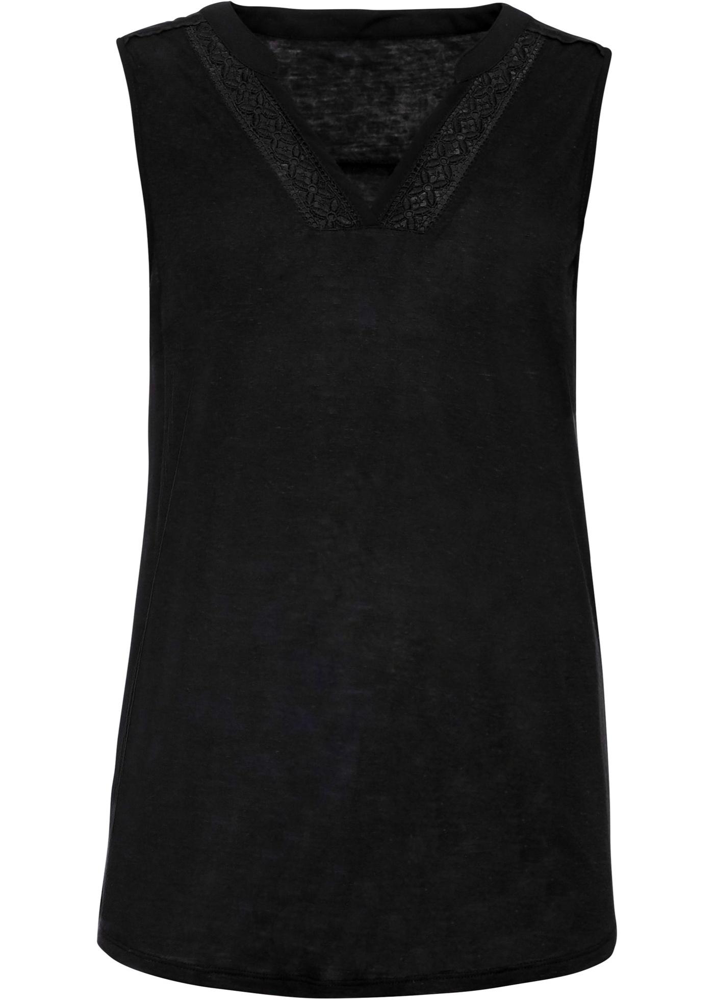 Top mit Spitze ohne Ärmel  in schwarz für Damen von bonprix
