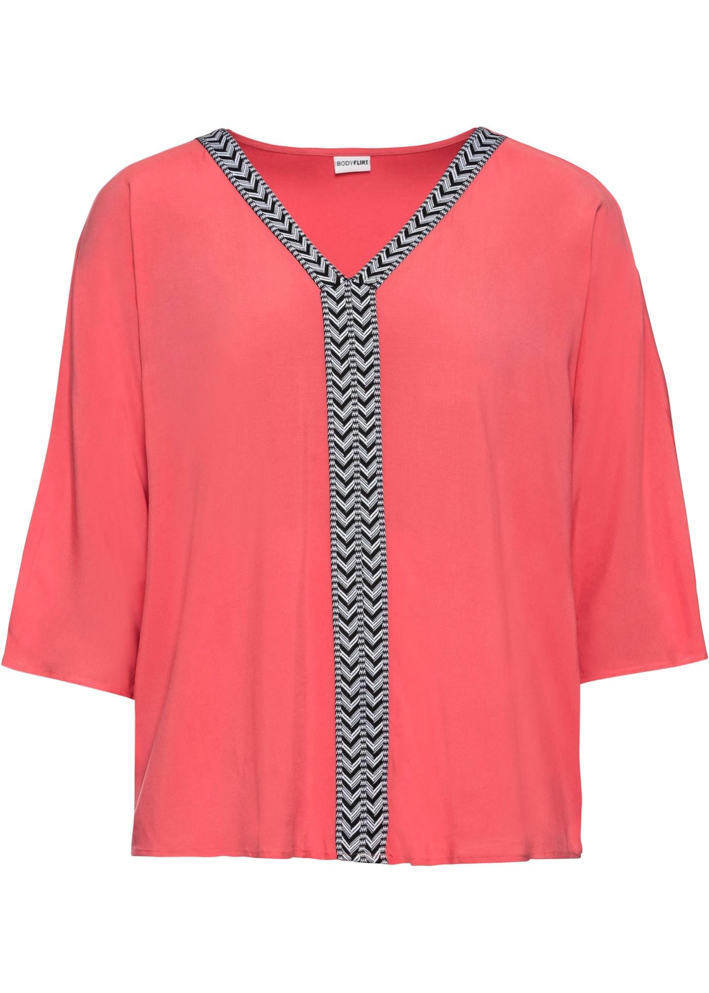 Tunika halber Arm  in pink (V-Ausschnitt) für Damen von bonprix