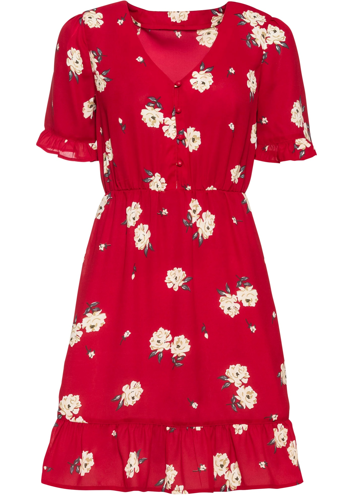 Kleid mit Volants halber Arm  in rot für Damen von bonprix