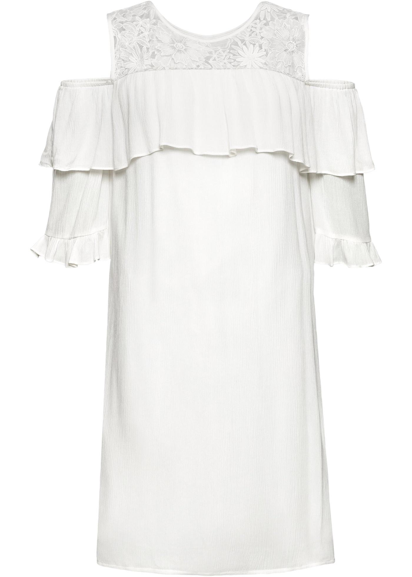 Cold-Shoulder-Kleid 3/4 Arm  in weiß für Damen von bonprix