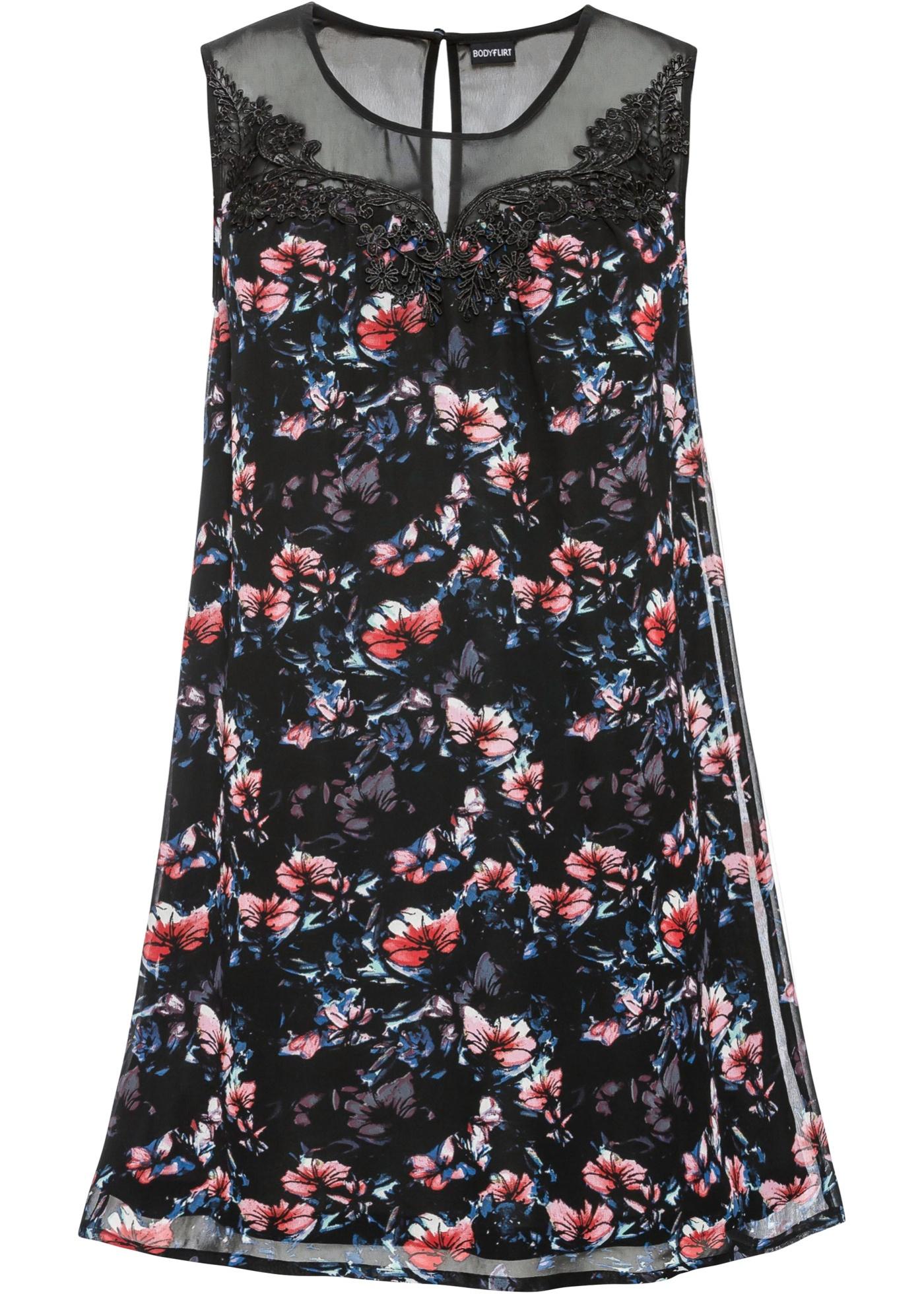Kleid mit Spitze ohne Ärmel  in schwarz für Damen von bonprix