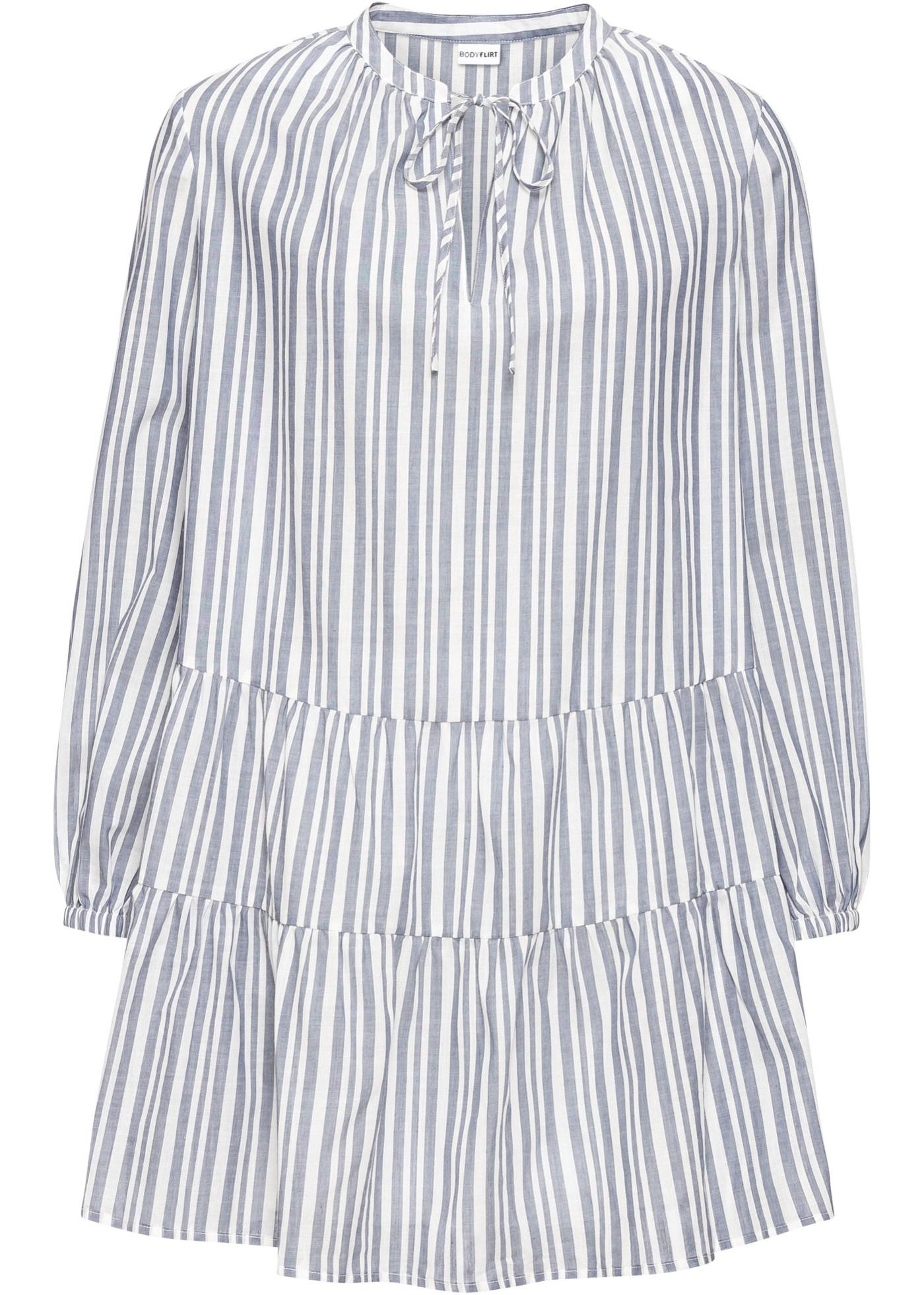 Volant-Bluse langarm  in blau für Damen von bonprix