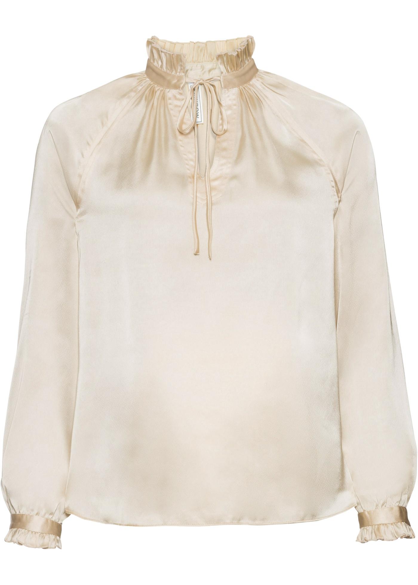 Bluse mit Schnürung langarm  in grau für Damen von bonprix