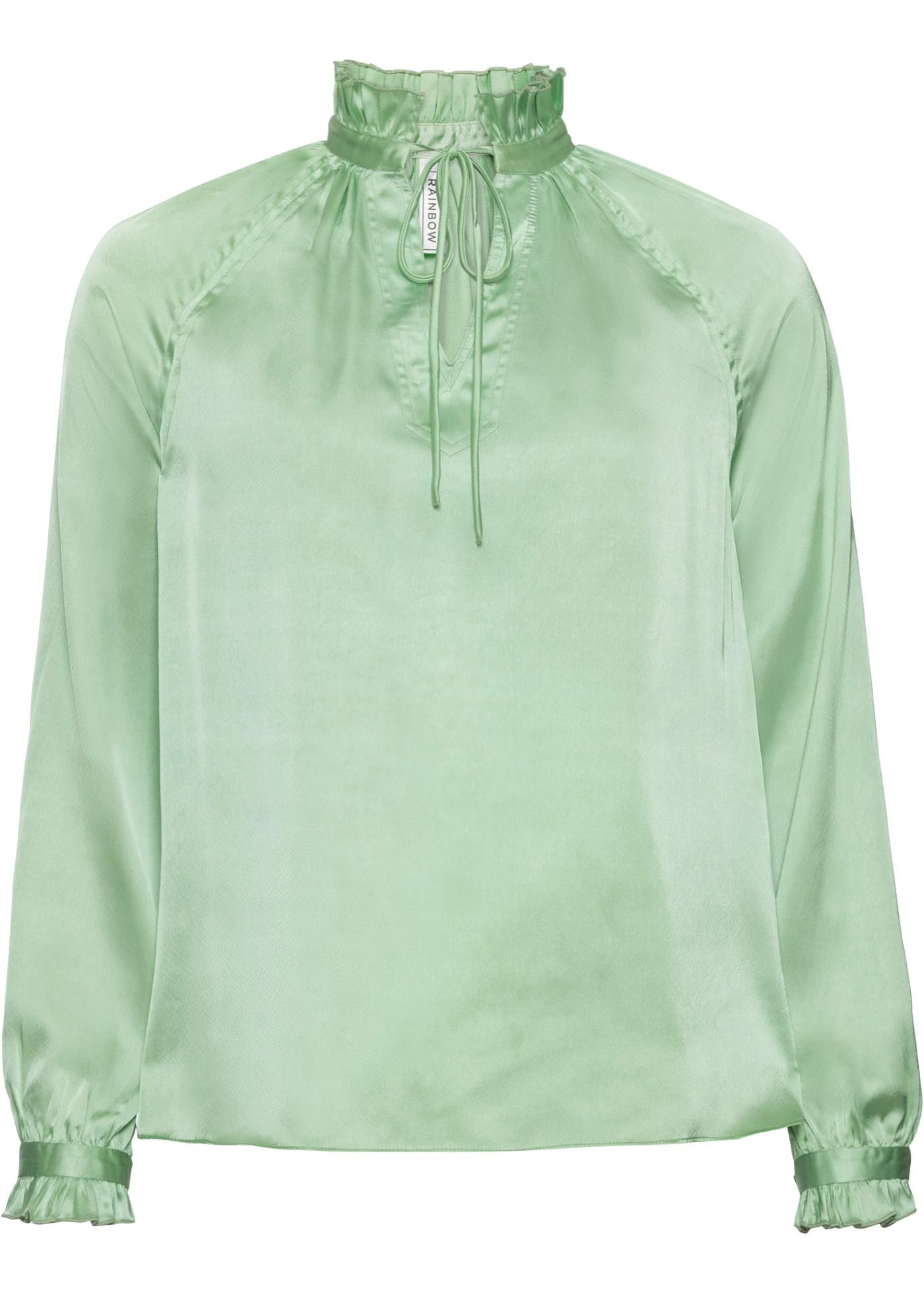 Bluse mit Schnürung langarm  in grün für Damen von bonprix