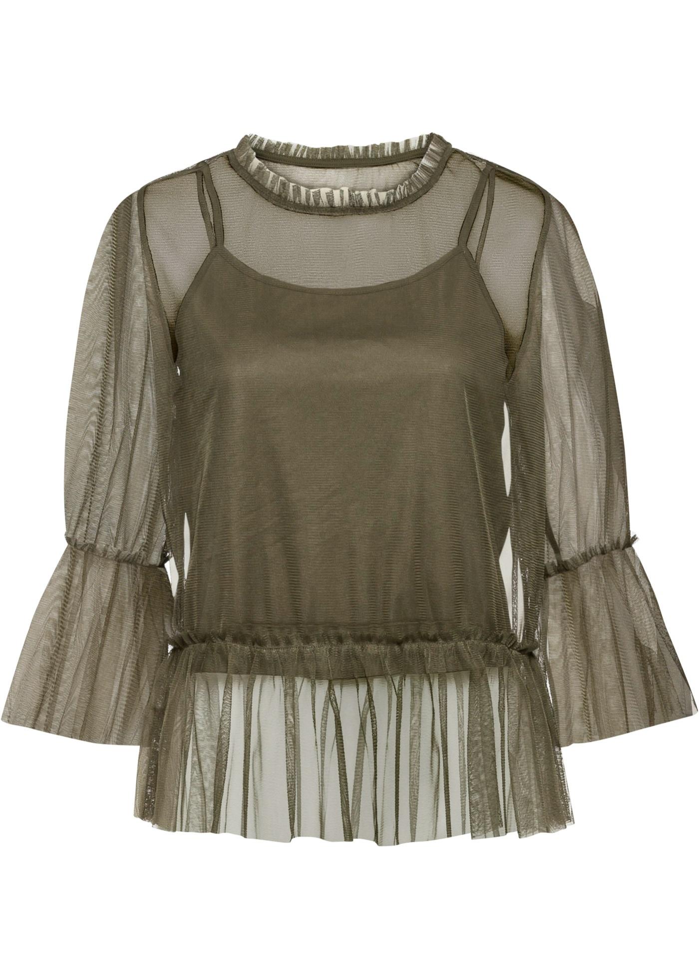 Mesh-Shirt 3/4 Arm  in grün (Rundhals) für Damen von bonprix