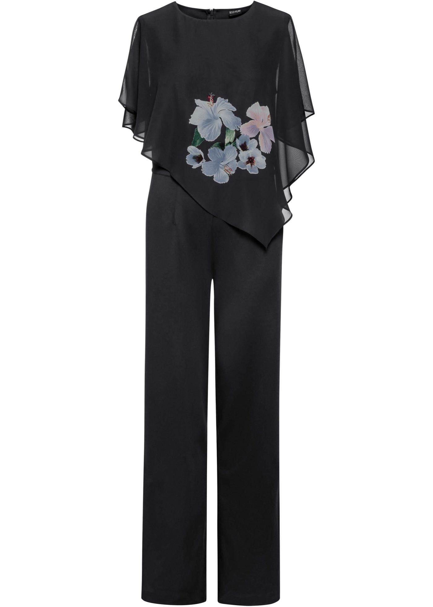 Jumpsuit mit Chiffon-Cape ohne Ärmel  in schwarz für Damen von bonprix